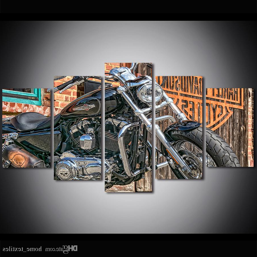 5 Piece Large Size Canvas Wall Art Harley Davidson Art Motorbike Wall Art Painting Motorbike Canvas Print Poster Intended For Most Recent Harley Davidson Wall Mirrors (View 11 of 20)