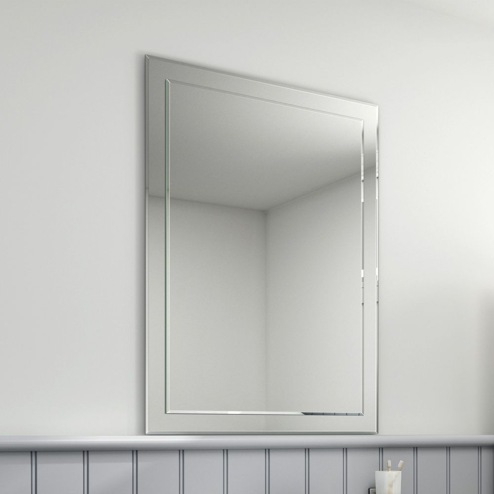 500 X 700 Modern Bevelled Edge Silver Bathroom Wall Mirror (View 19 of 20)