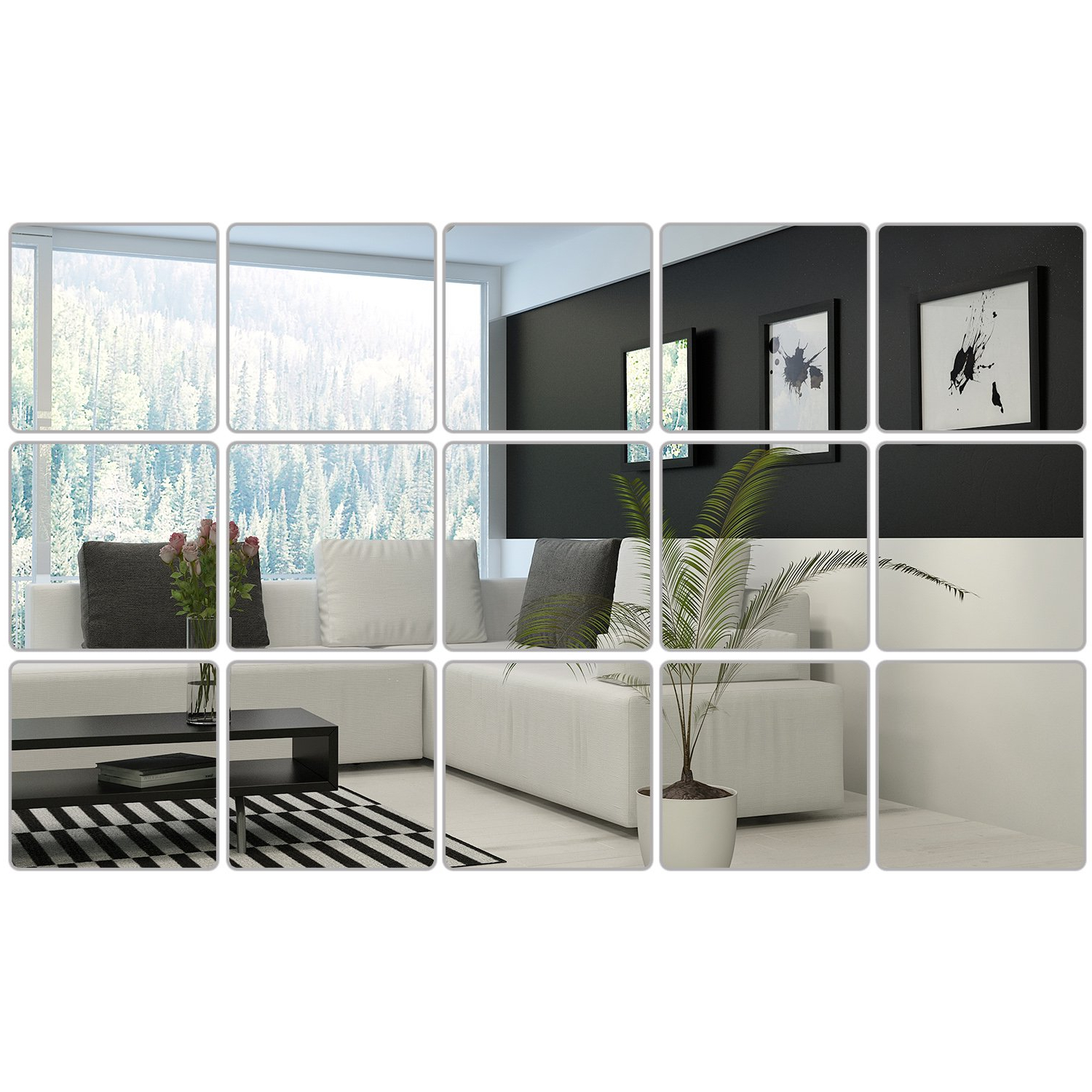 6 X 6 Inches Mirror Sheets Decals Self Adhesive Mirror Tiles Non Glass  Mirror Stickers, 15 Pieces (Style 1) With Regard To Most Up To Date Stick On Wall Mirror Tiles (View 3 of 20)