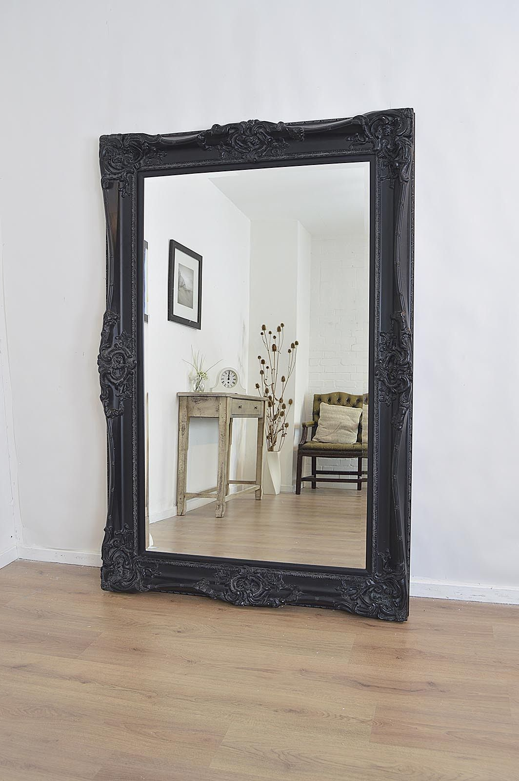 6Ft X 4Ft Large Black Antique Style Rectangle Wood Wall For Famous Large Black Wall Mirrors (View 1 of 20)