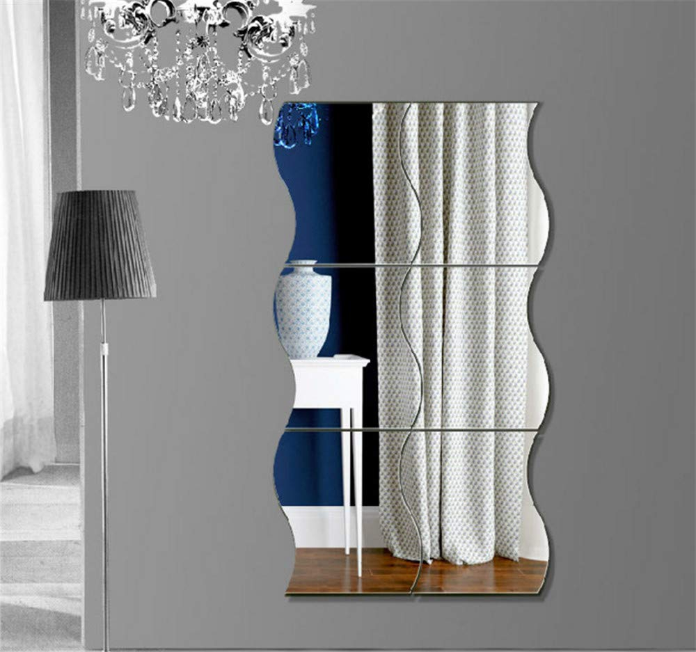 6pcs Wavy Mirror Wall Stickers, 3d Mirror Art Diy Home Decorative Acrylic Mirror Wall Sheet Plastic Mirror Tiles For Home Living Room Bedroom Sofa Tv For 2019 Wavy Wall Mirrors (View 7 of 20)
