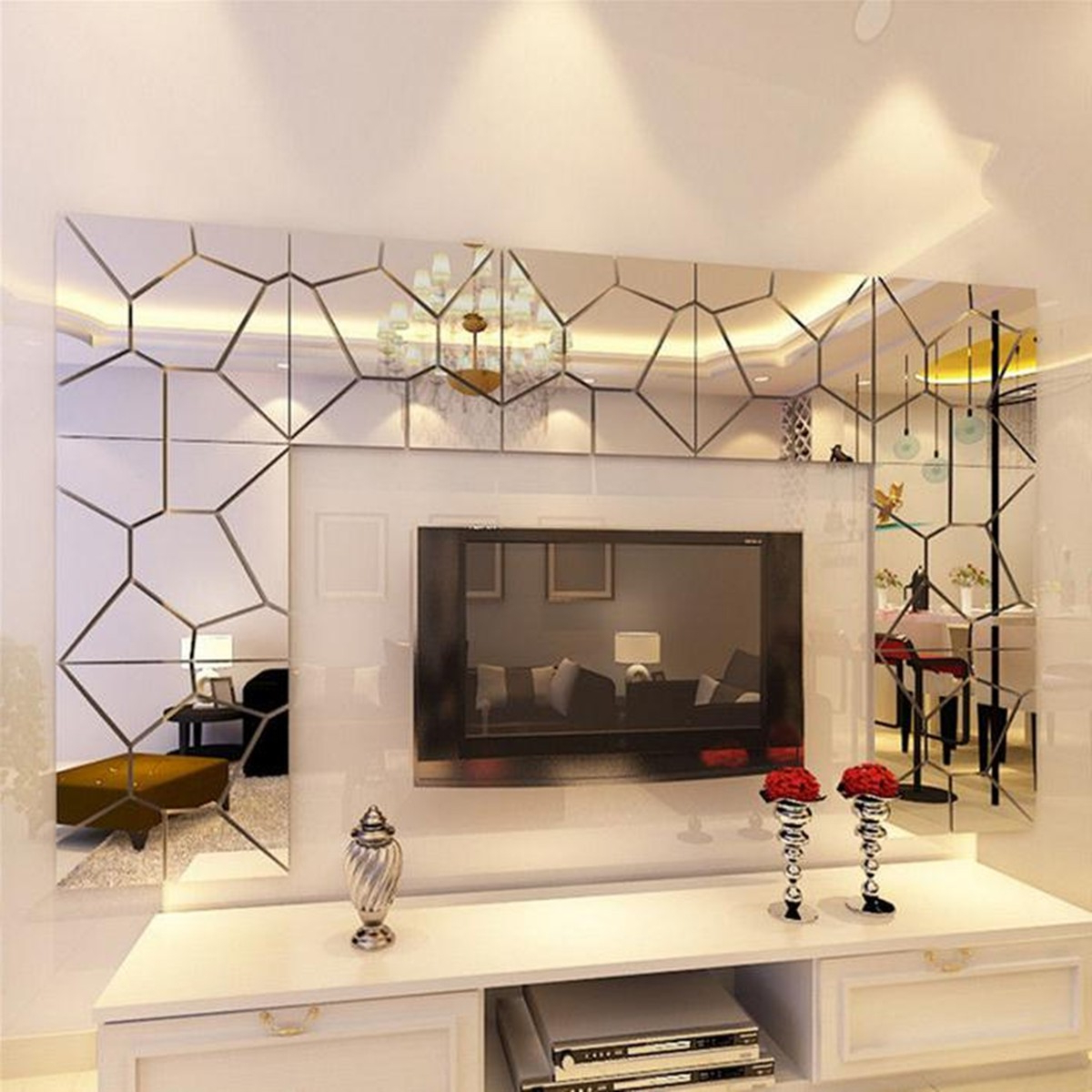 7 35Pcs 3D Acrylic Removable Modern Mirror Decal Art Mural Wall Sticker Home Room Decor Diy With Regard To Well Liked Acrylic Wall Mirrors (Gallery 10 of 20)