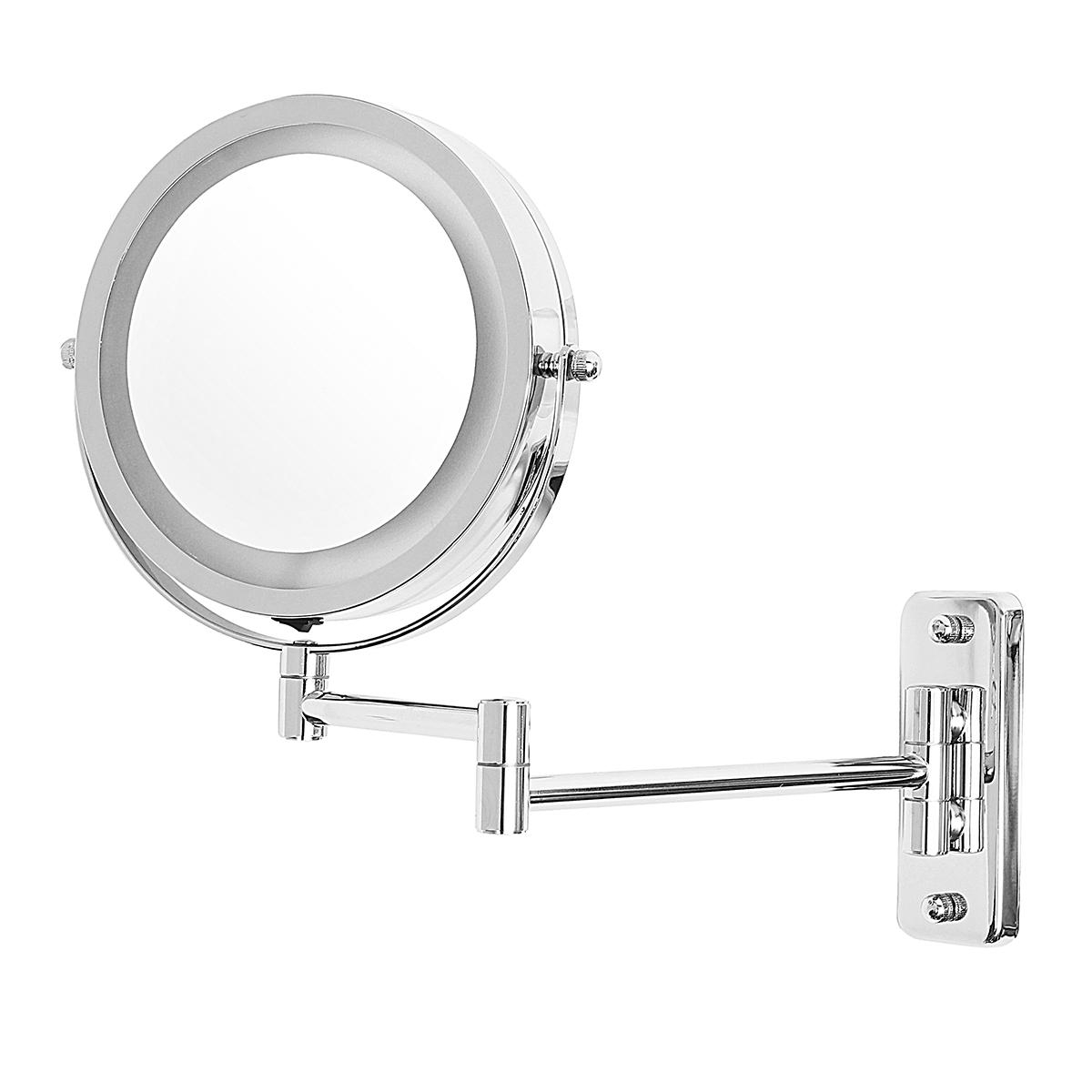 """7"""" Led Lighted Makeup Cosmetic Mirror Bathroom Flexible Floding Adjustable Wall Mounted Led Mirrors In Preferred Adjustable Wall Mirrors (Gallery 7 of 20)"""