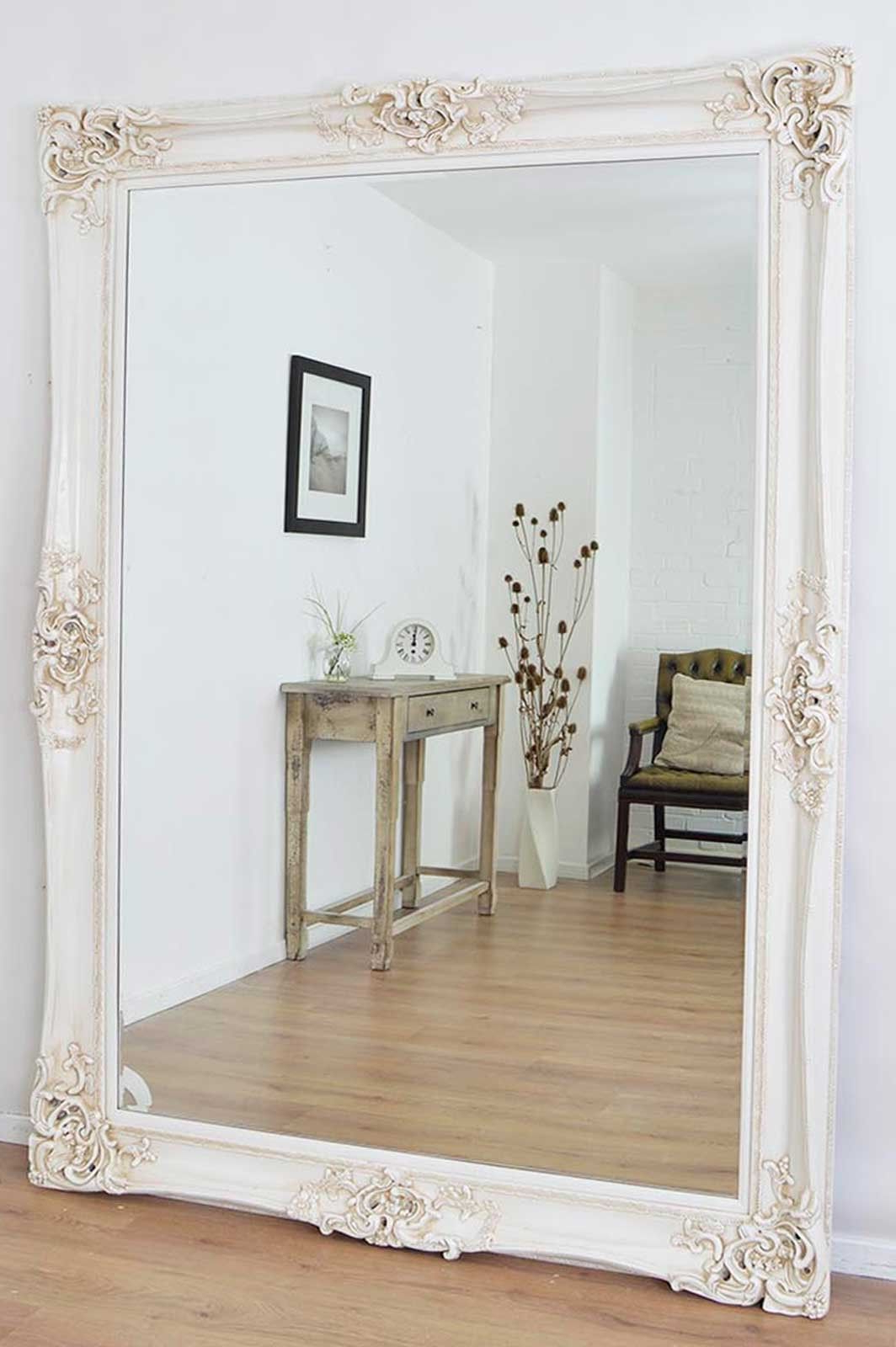 7ft X 5ft 213cm X 152cm Large Frame Ivory Antique Very Ornate Design Within Most Recent Very Large Wall Mirrors (View 5 of 20)