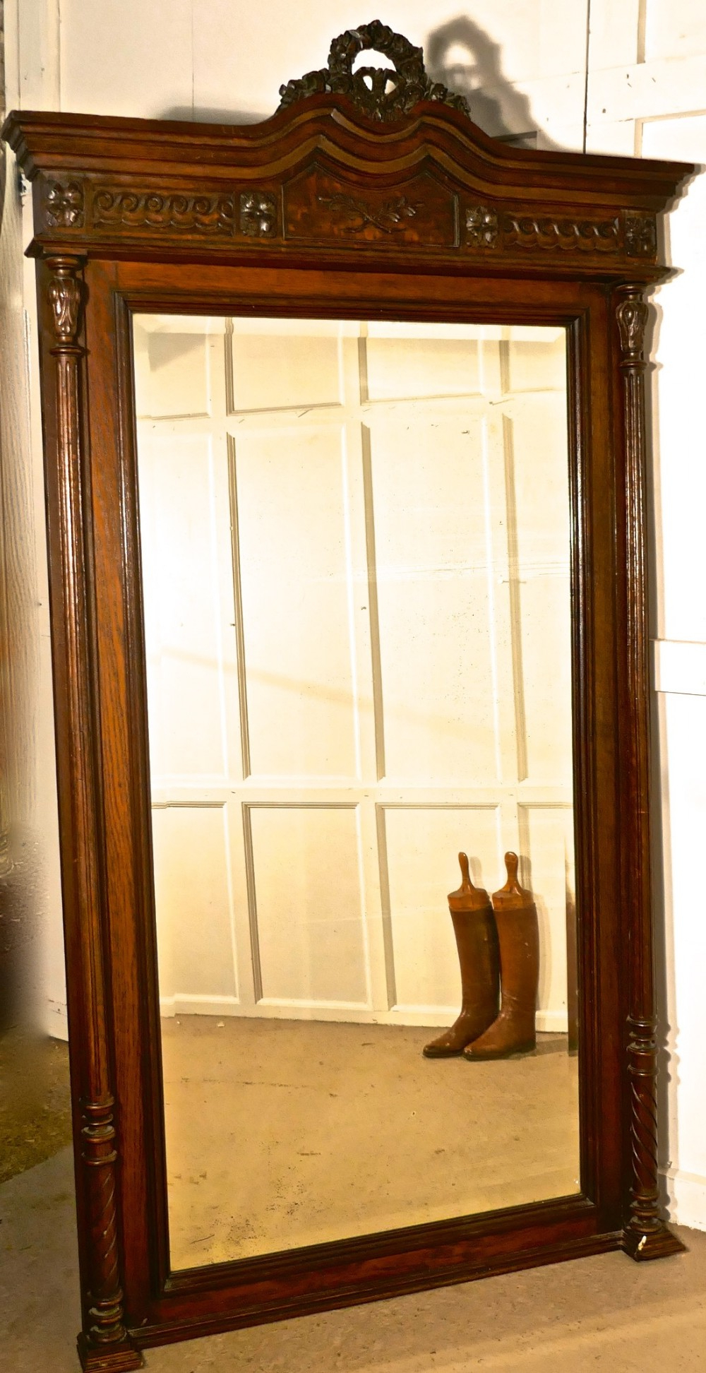 A Very Large French Carved Oak Wall Mirror (7Ft Tall Intended For Most Up To Date Oak Wall Mirrors (View 2 of 20)