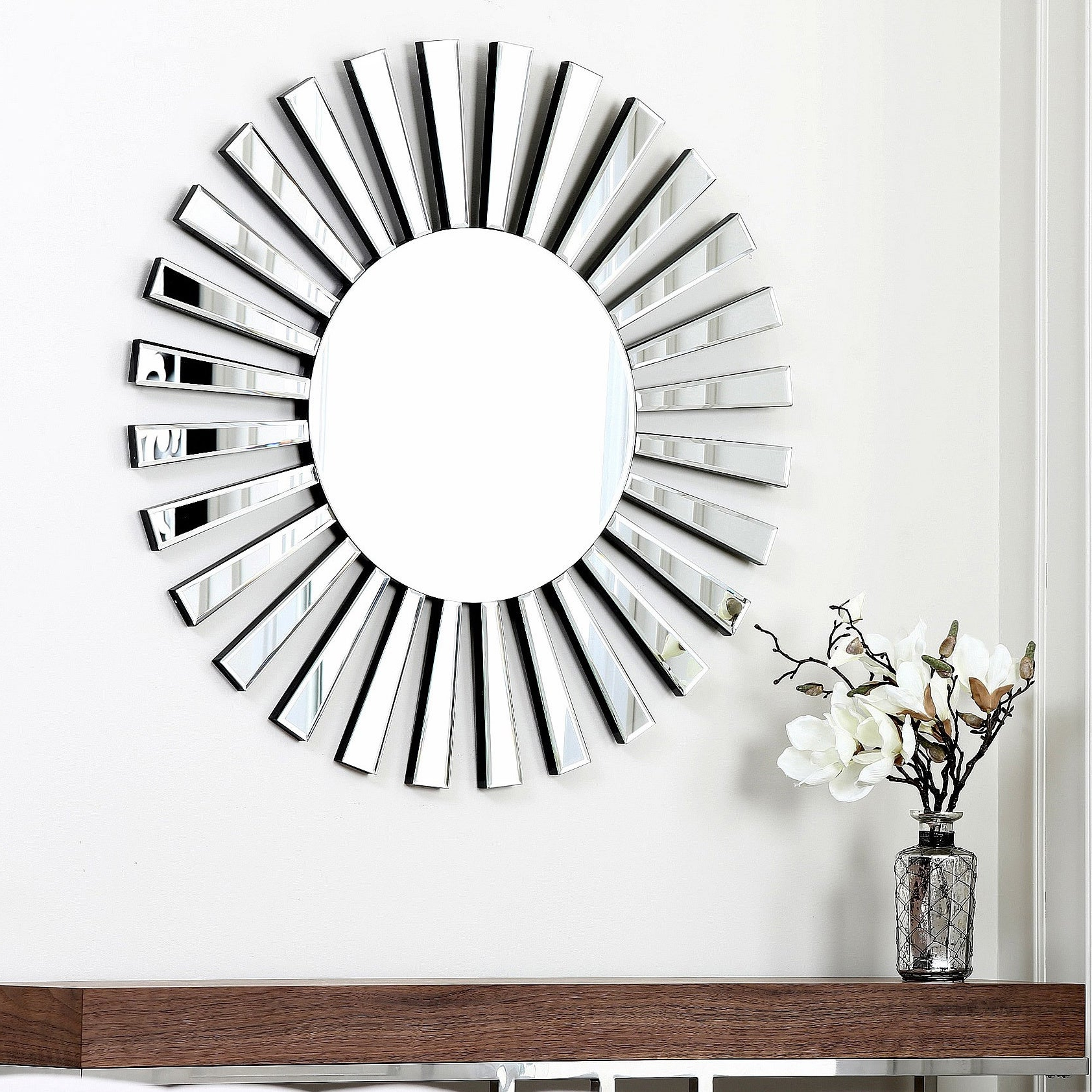 Abbyson Living Soleil Round Wall Mirror Within Newest Soleil Wall Mirrors (Gallery 4 of 20)