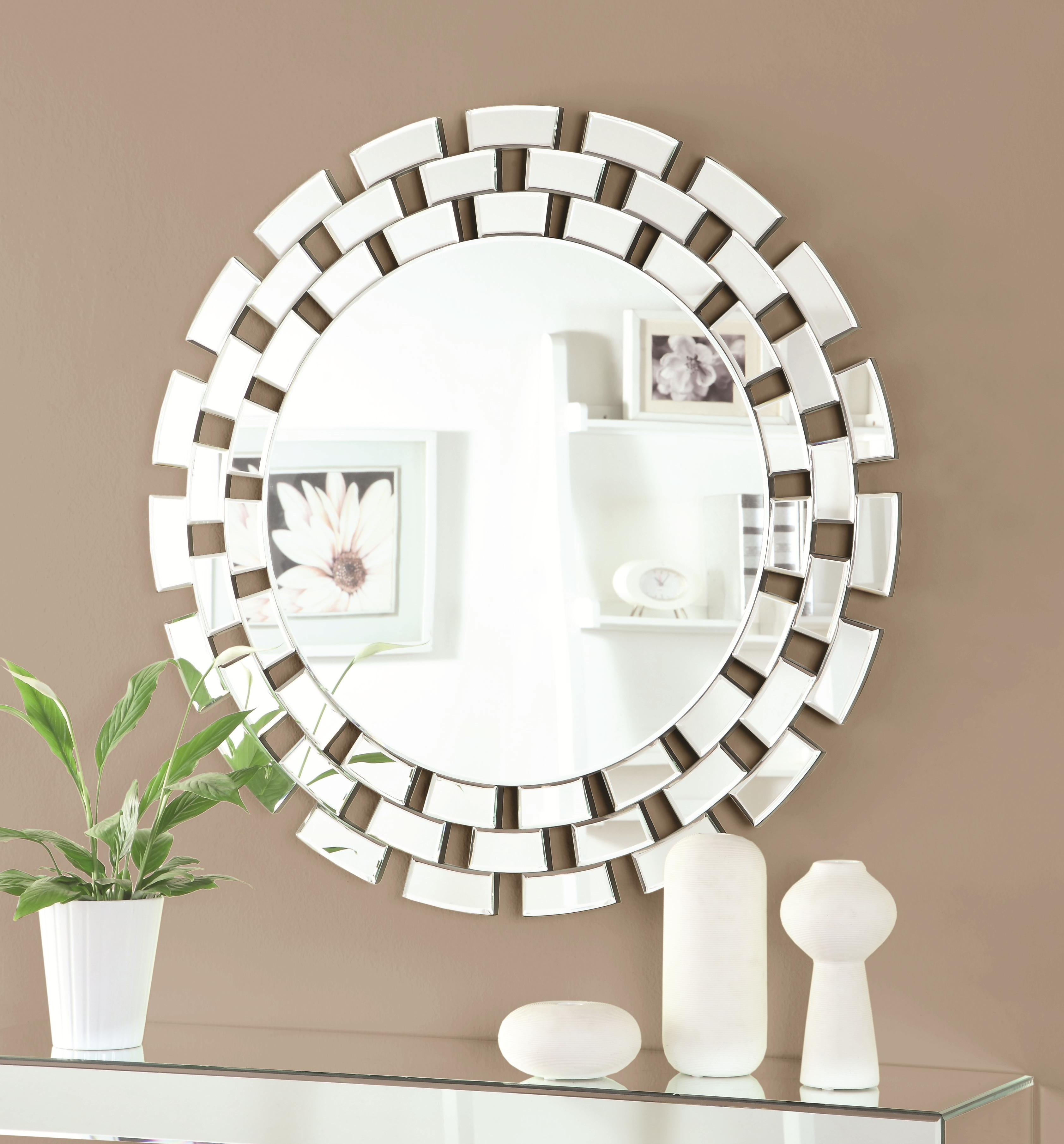 Accent Mirrors Round Wall Mirror With Geometric Frame Pertaining To Current Geometric Wall Mirrors (View 16 of 20)