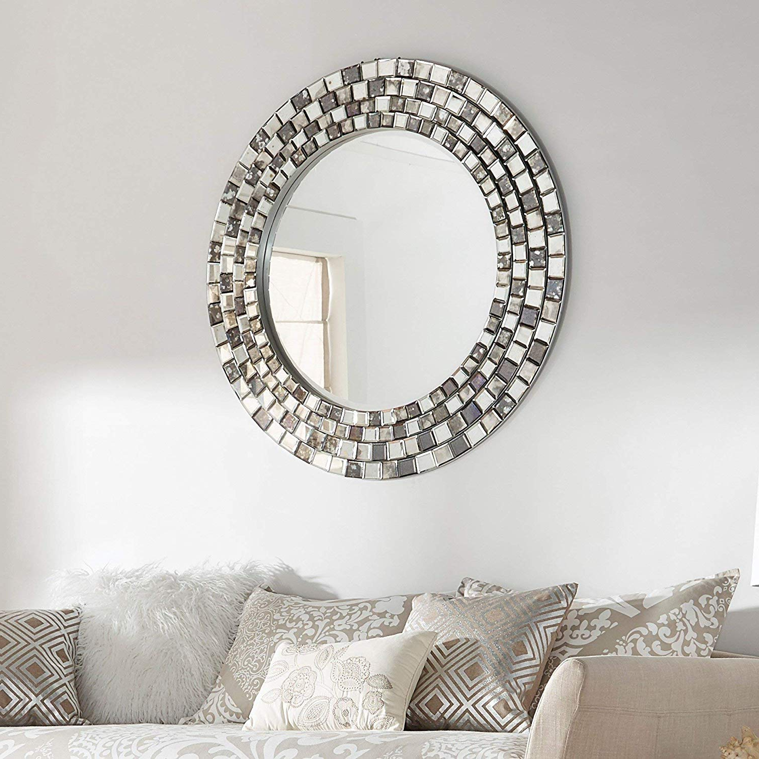 Accent Wall Mirrors Pertaining To Fashionable Amazon: Inspire Q Palmer Frosted Tile Silver Finish Round Accent (View 1 of 20)