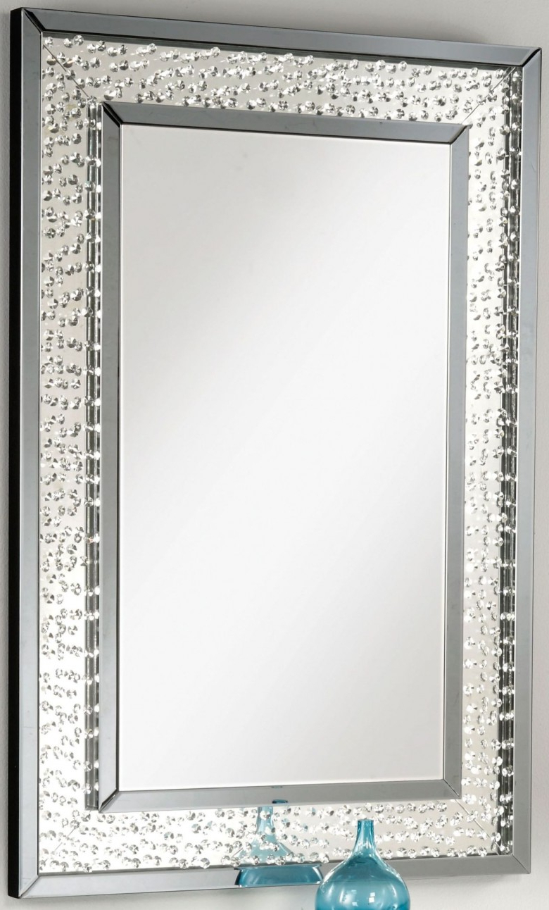 Accent Wall Mirrors Regarding Well Known Nysa Mirrored Crystal Accent Wall Mirror (View 4 of 20)
