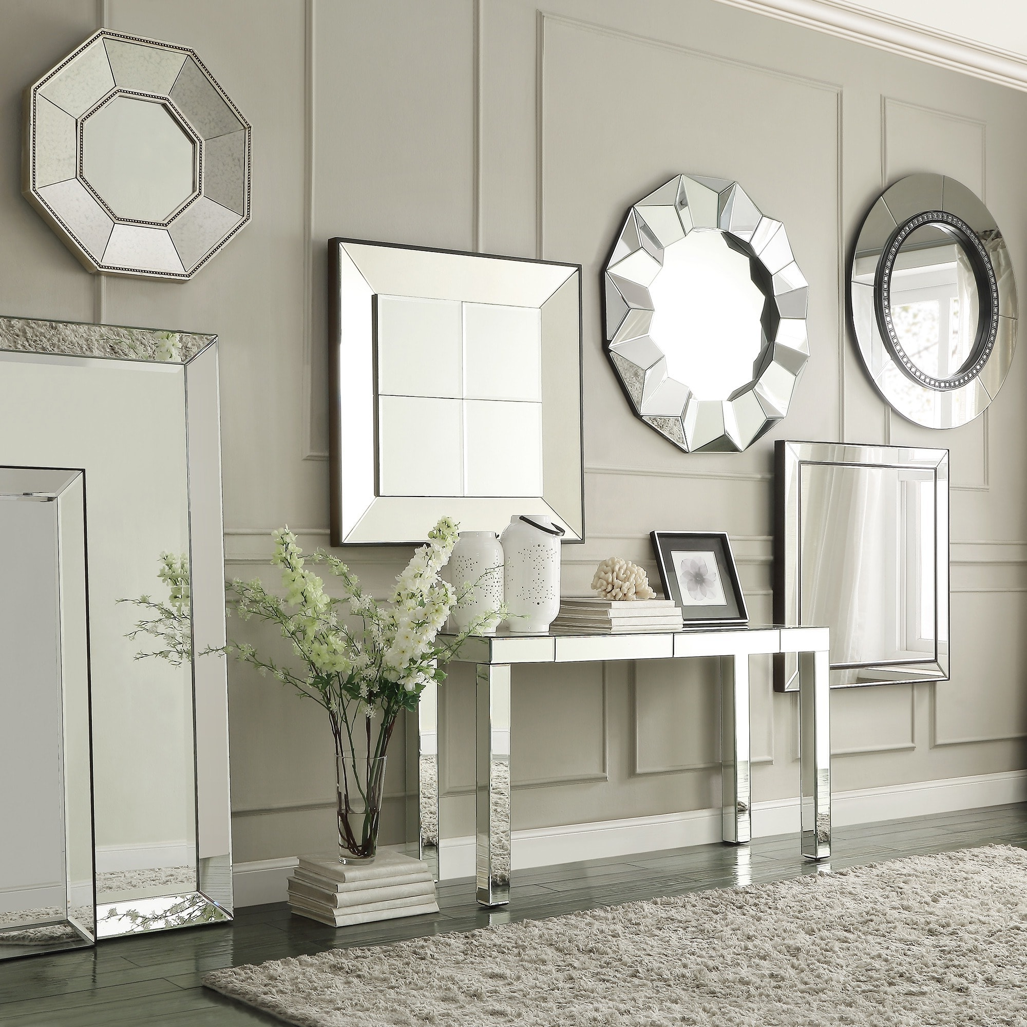 Accent Wall Mirrors Throughout 2019 Brinkley Dark Brown Trim Mirrored Frame Square Accent Wall Mirror (View 7 of 20)