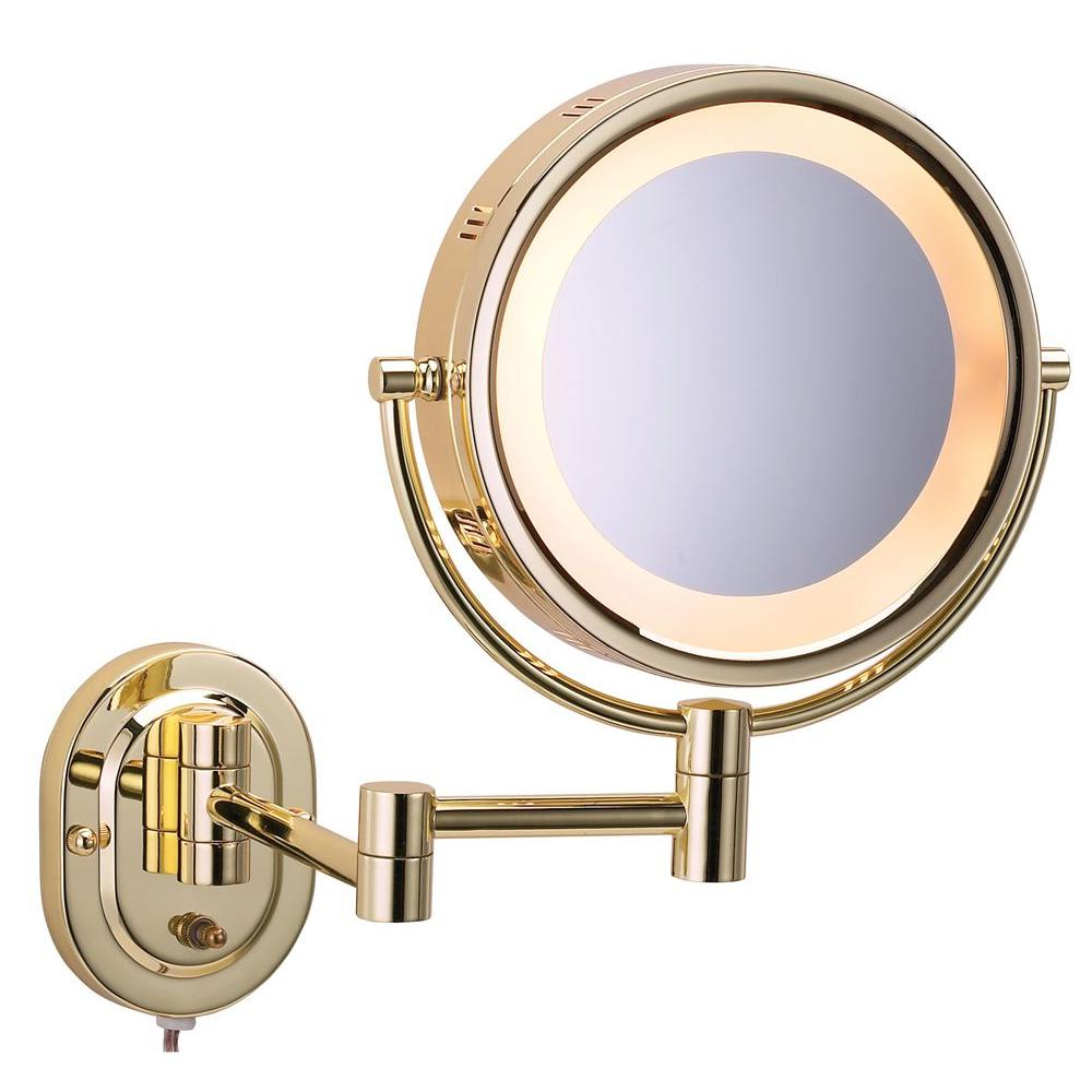 Accordion Wall Mirrors Regarding Current Jerdon 15 In. L X10 In. Lighted Wall Makeup Mirror In Bright Brass (Gallery 13 of 20)