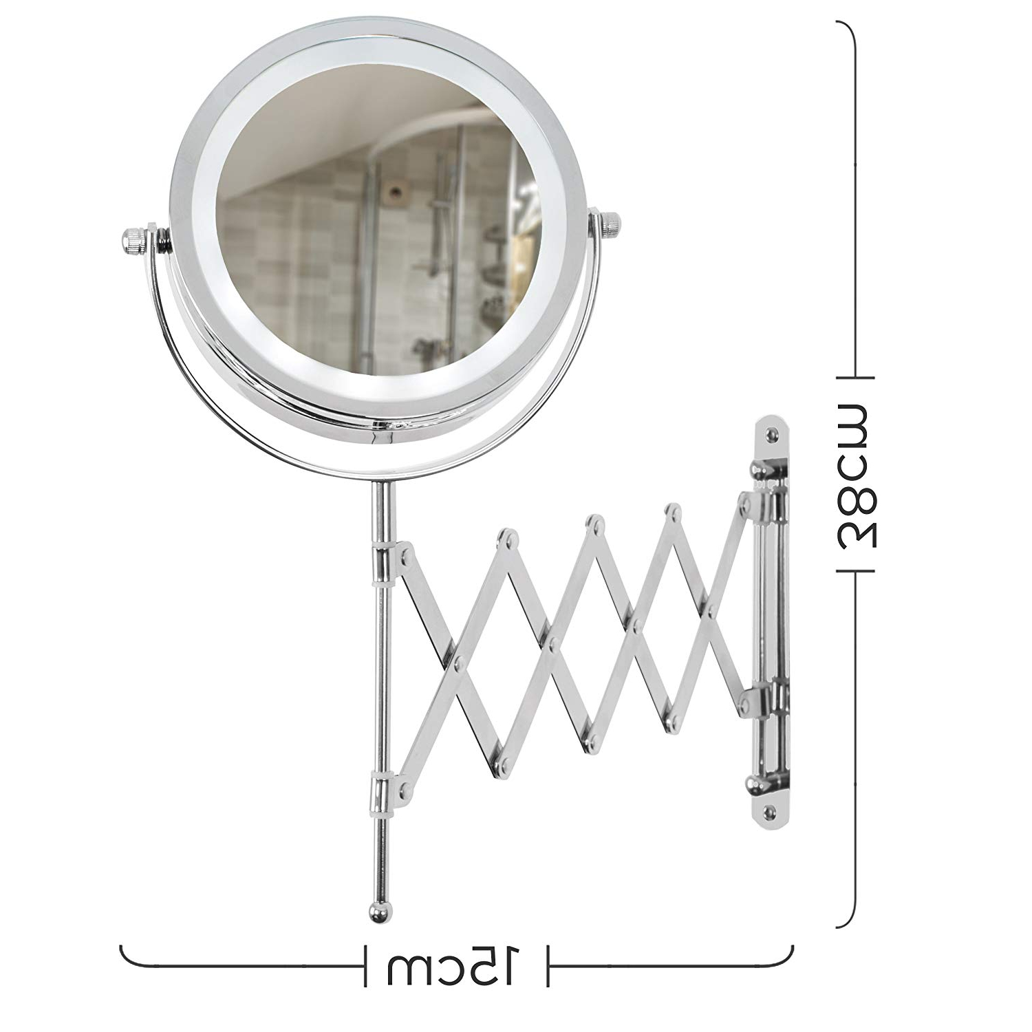 Adjustable Wall Mirrors Pertaining To Famous Adjustable And Extendable Round Chrome Battery Operated Magnifying Bathroom  Led Illuminated Make Up Cosmetic Shaving Vanity Wall Mounted Mirror Light (View 6 of 20)