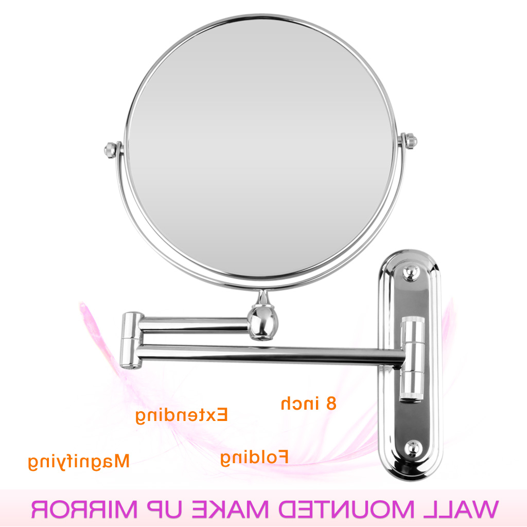 Adjustable Wall Mirrors Within Most Recent Details About Bathroom 360°Wall Mounted Adjustable Double Side 10X Magnification Mirror Silver (Gallery 9 of 20)
