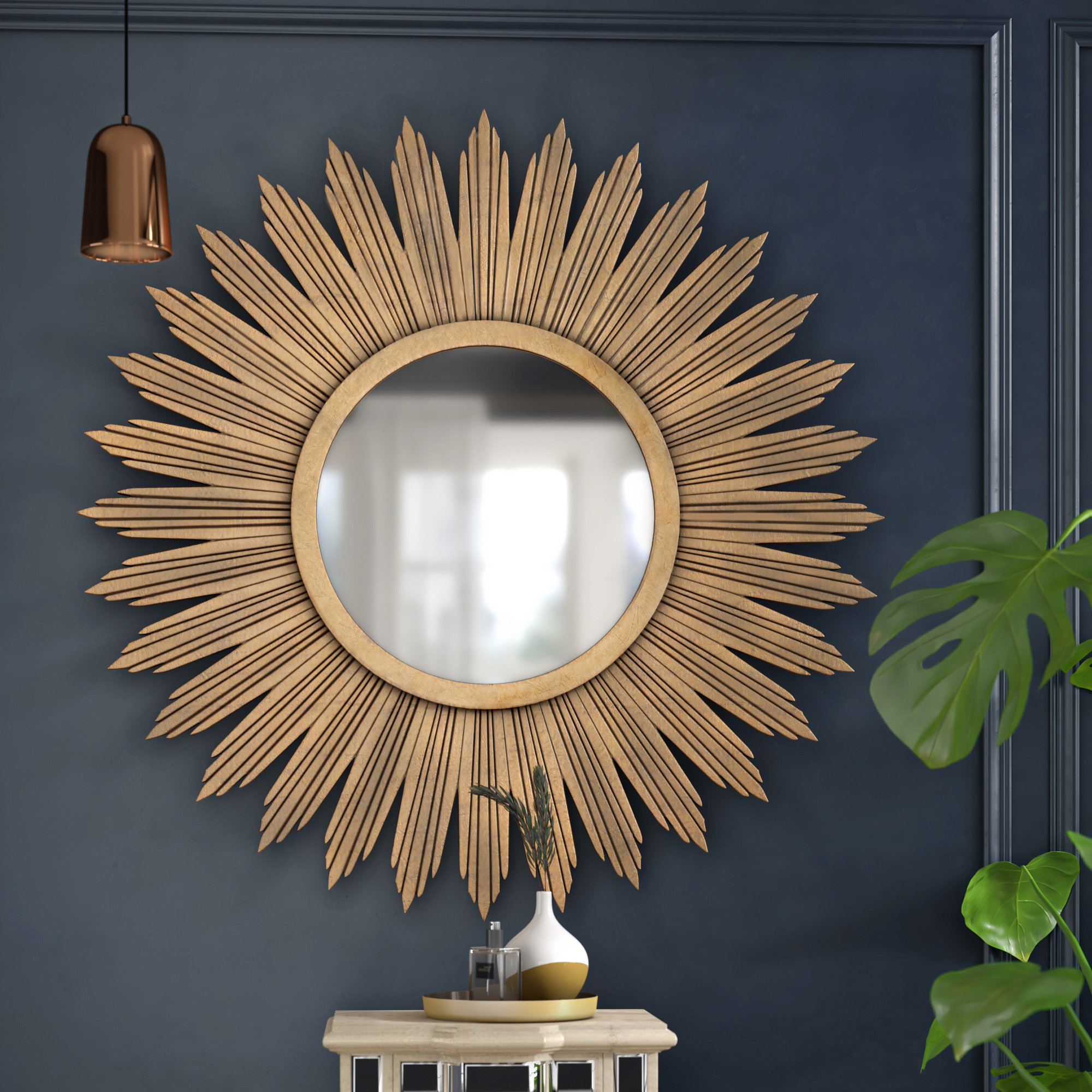 Aged Gold Wall Décor Modern & Contemporary Wall Mirror Regarding Most Current Harbert Modern And Contemporary Distressed Accent Mirrors (View 11 of 20)