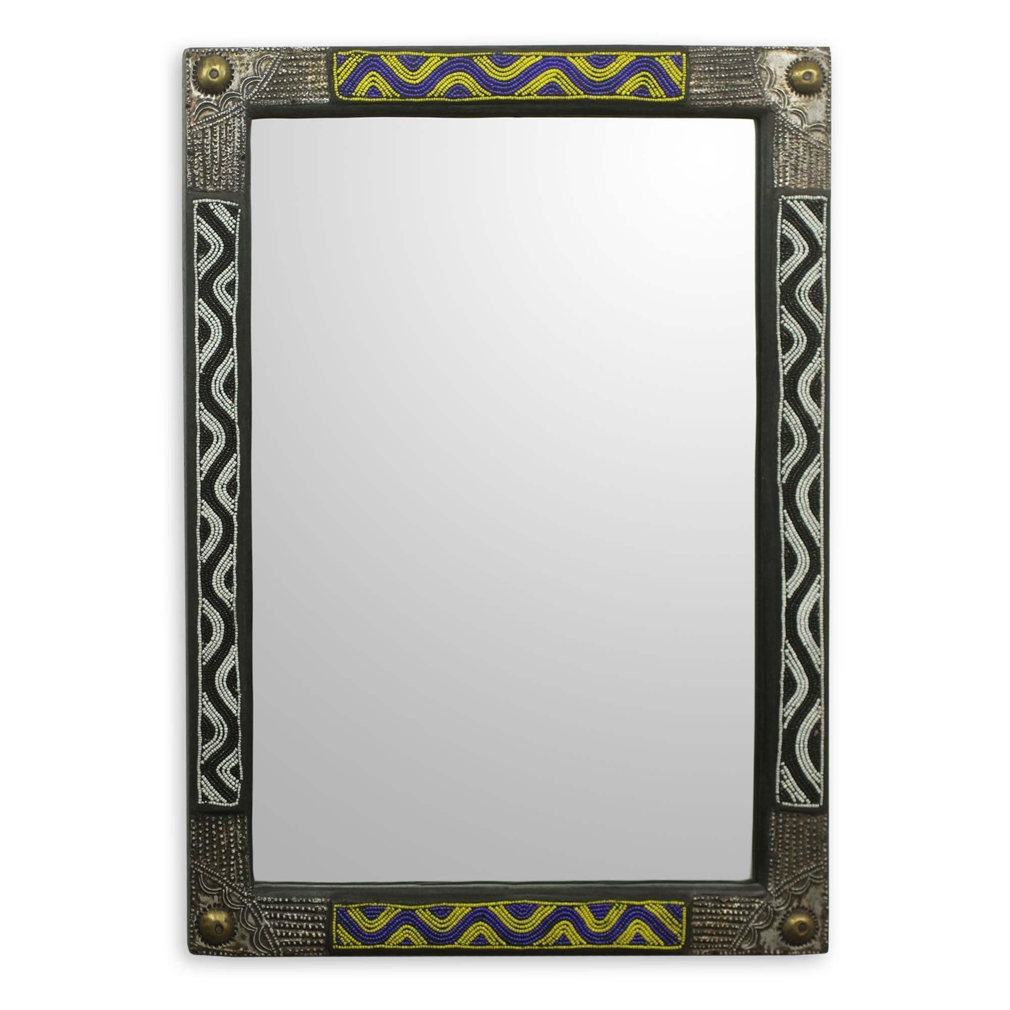 Ahoufe Ii African Beaded Wood Frame Wall Mirror With Metal Accents Within Recent Beaded Accent Wall Mirrors (View 3 of 20)