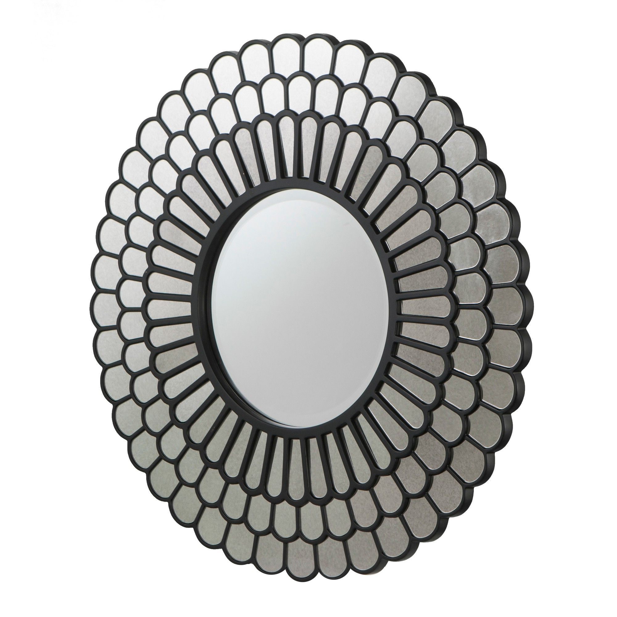 "Aiden Lane 32""x32"" Tellis Geometric Decorative Wall Mirror Black In Pertaining To Most Recent Deniece Sunburst Round Wall Mirrors (View 8 of 20)"