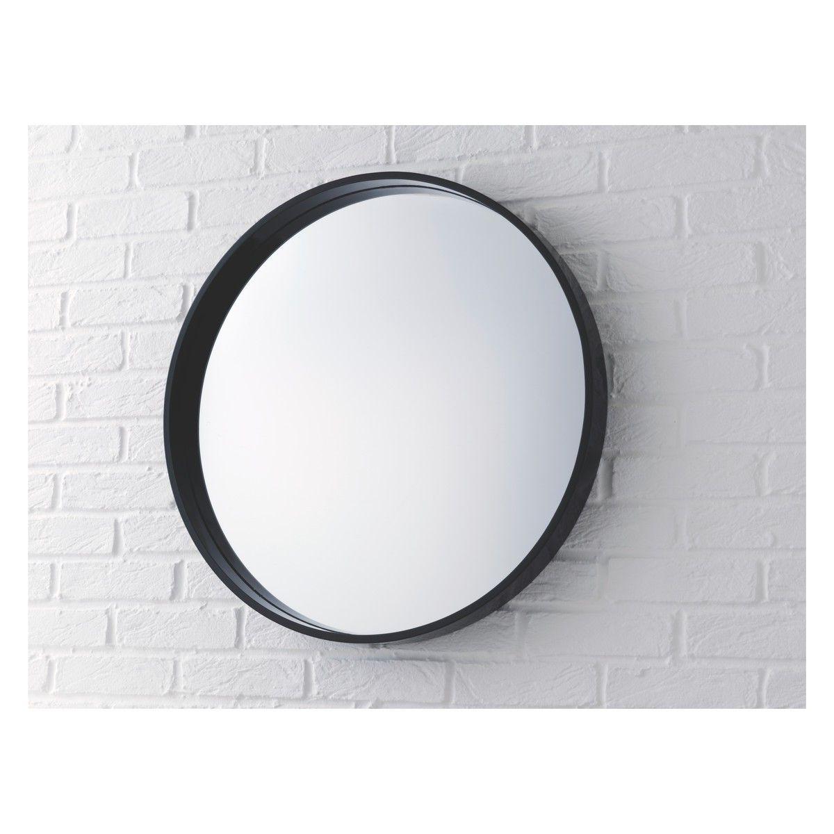 Aimee Black High Gloss Round Wall Mirror D65cm (View 10 of 20)