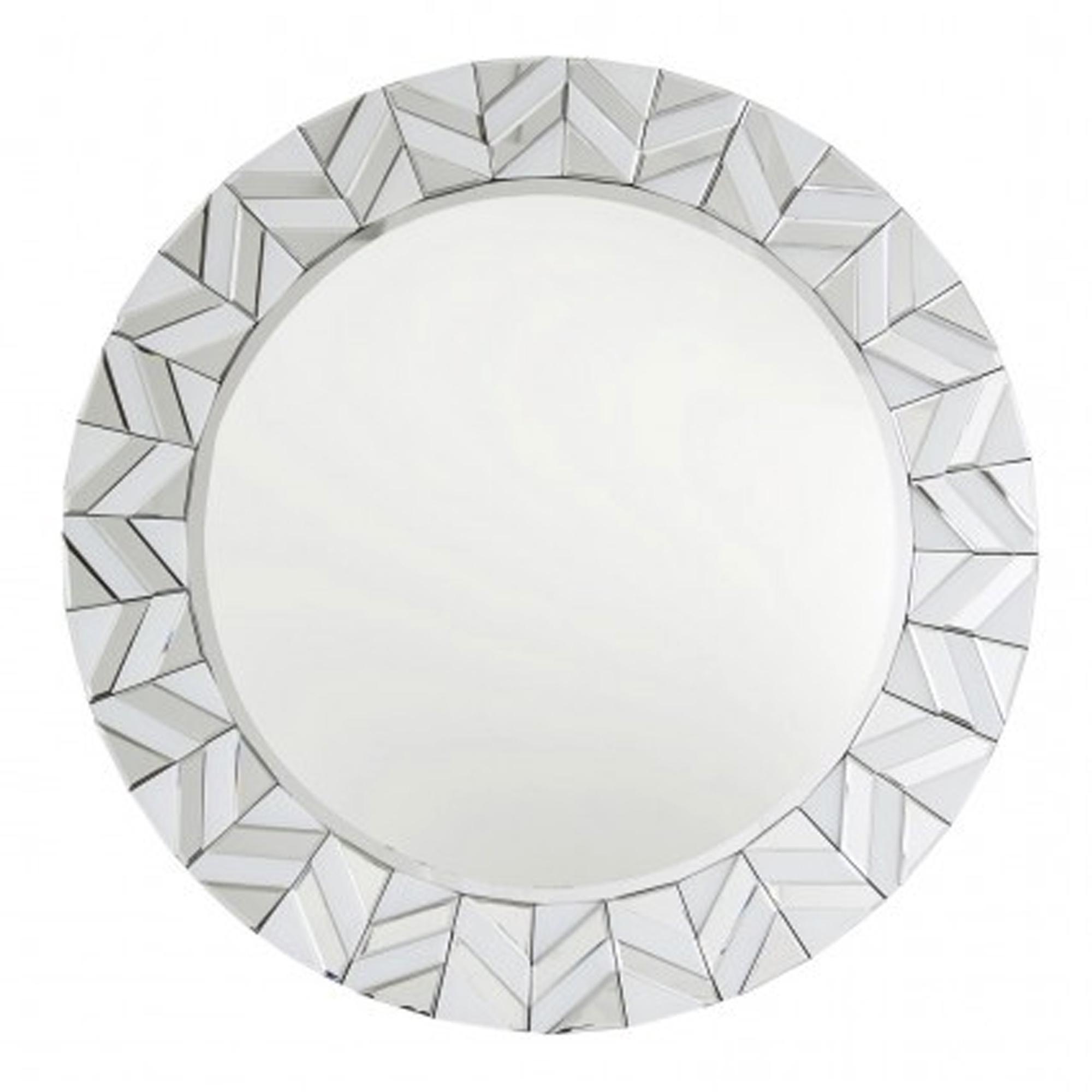 Alghero White Tiled Round Wall Mirror For Latest White Round Wall Mirrors (View 8 of 20)