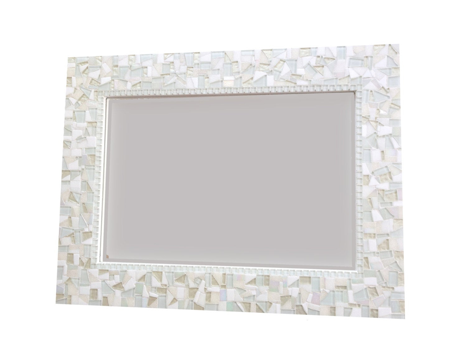 All White Wall Mirror, Large Mosaic Mirror, Neutral White Home Decor With Most Recent Large White Wall Mirrors (View 15 of 20)