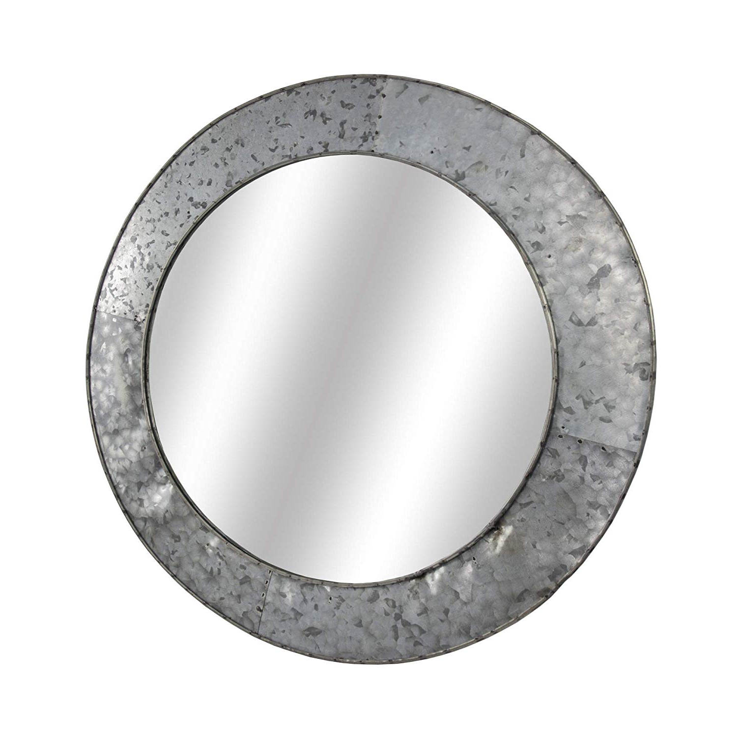 Amazon: American Art Decor Galvanized Round Metal Wall Vanity Throughout Preferred Round Galvanized Metallic Wall Mirrors (View 2 of 20)