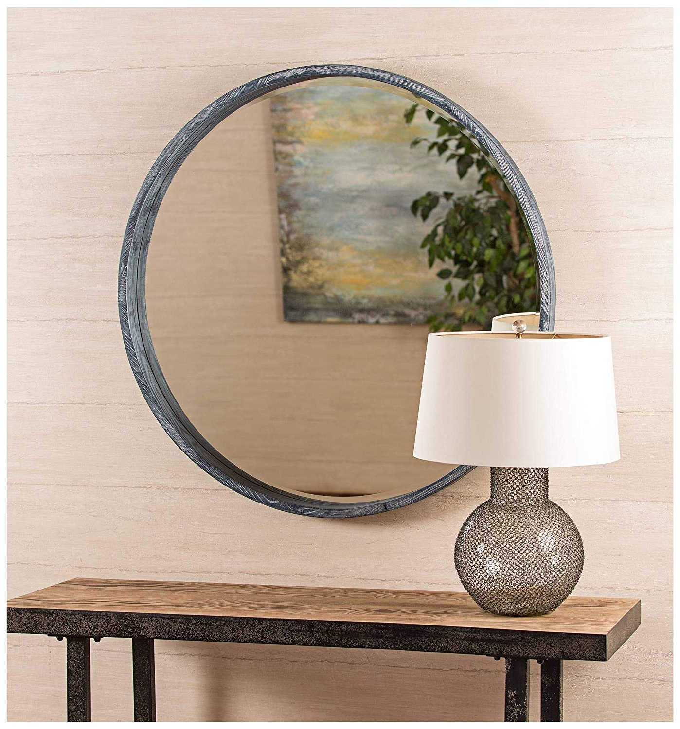 "Amazon: Cooper Classics Parson Gray 36"" Contemporary Round For Famous Parsons Wall Mirrors (View 5 of 20)"