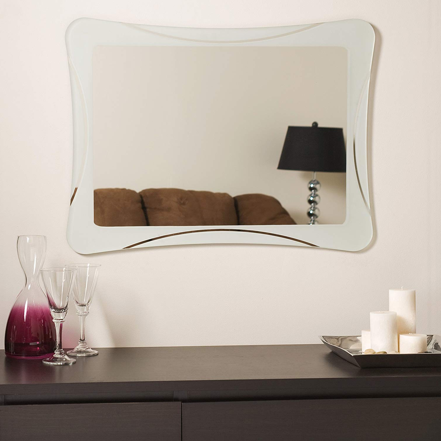 Amazon: Decor Wonderland Frameless Shapes Mirror: Home & Kitchen With Widely Used Logan Frameless Wall Mirrors (View 2 of 20)