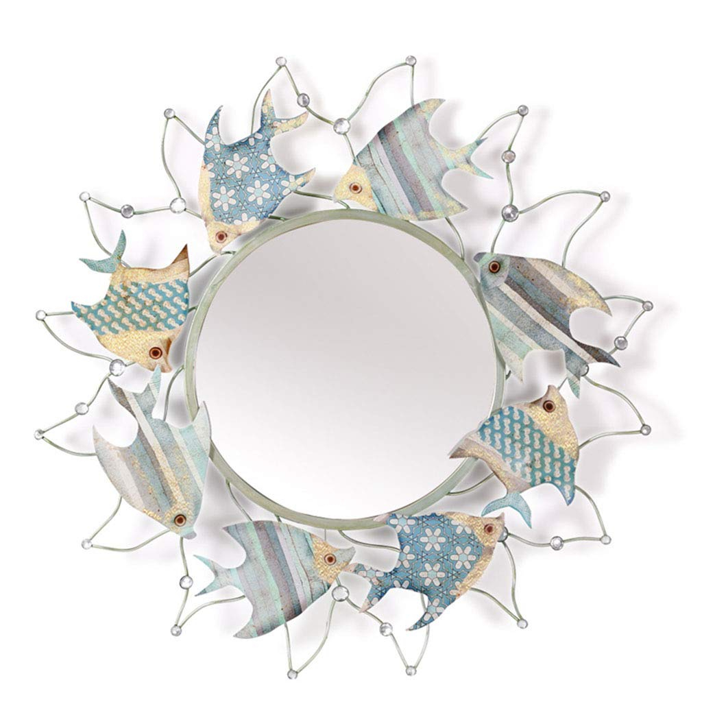 Amazon: Decoration Wrought Iron Wall Mirror, Background Wall Inside 2019 Cute Wall Mirrors (View 20 of 20)