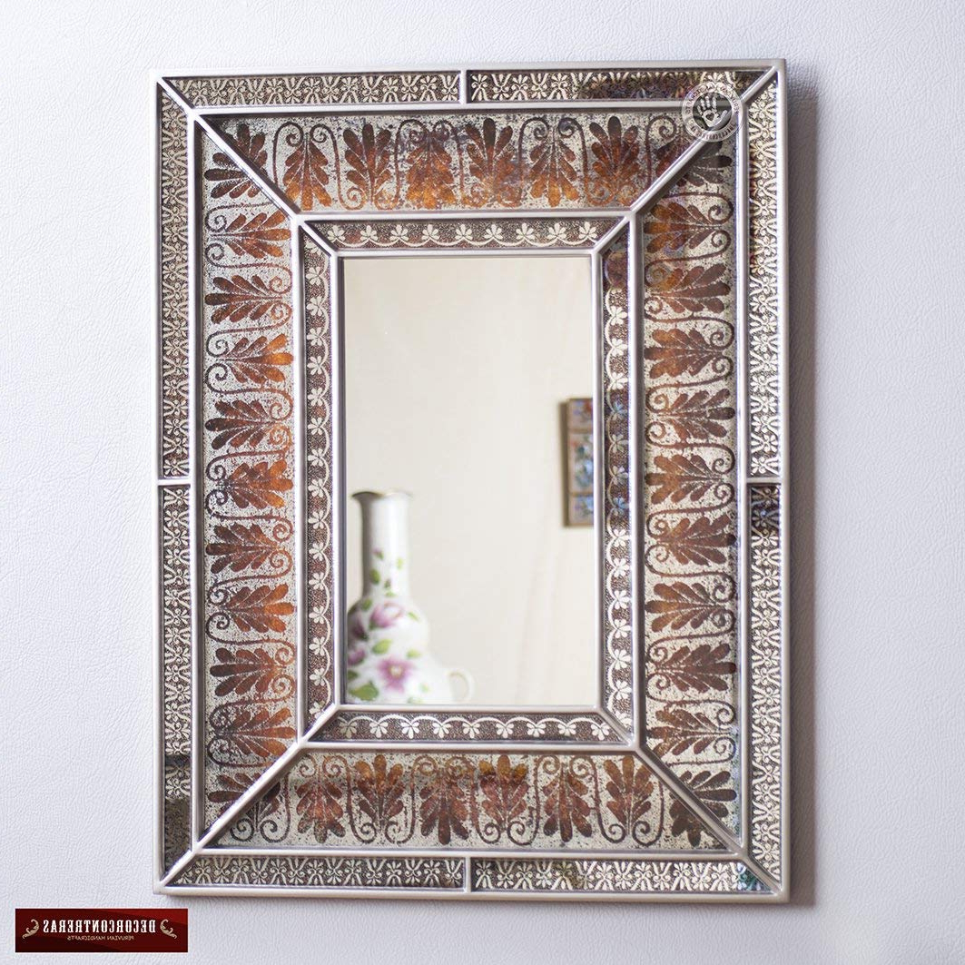 Amazon: Decorative Wall Mirror Using Verre Eglomise Technique In Fashionable Decorative Rectangular Wall Mirrors (Gallery 10 of 20)