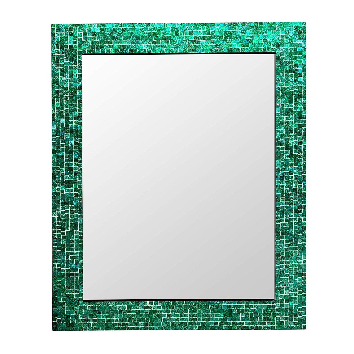 "Amazon: Decorshore 30"" X 24"" Glass Mosaic Framed Decorative Wall Pertaining To Best And Newest Round Eclectic Accent Mirrors (View 20 of 20)"