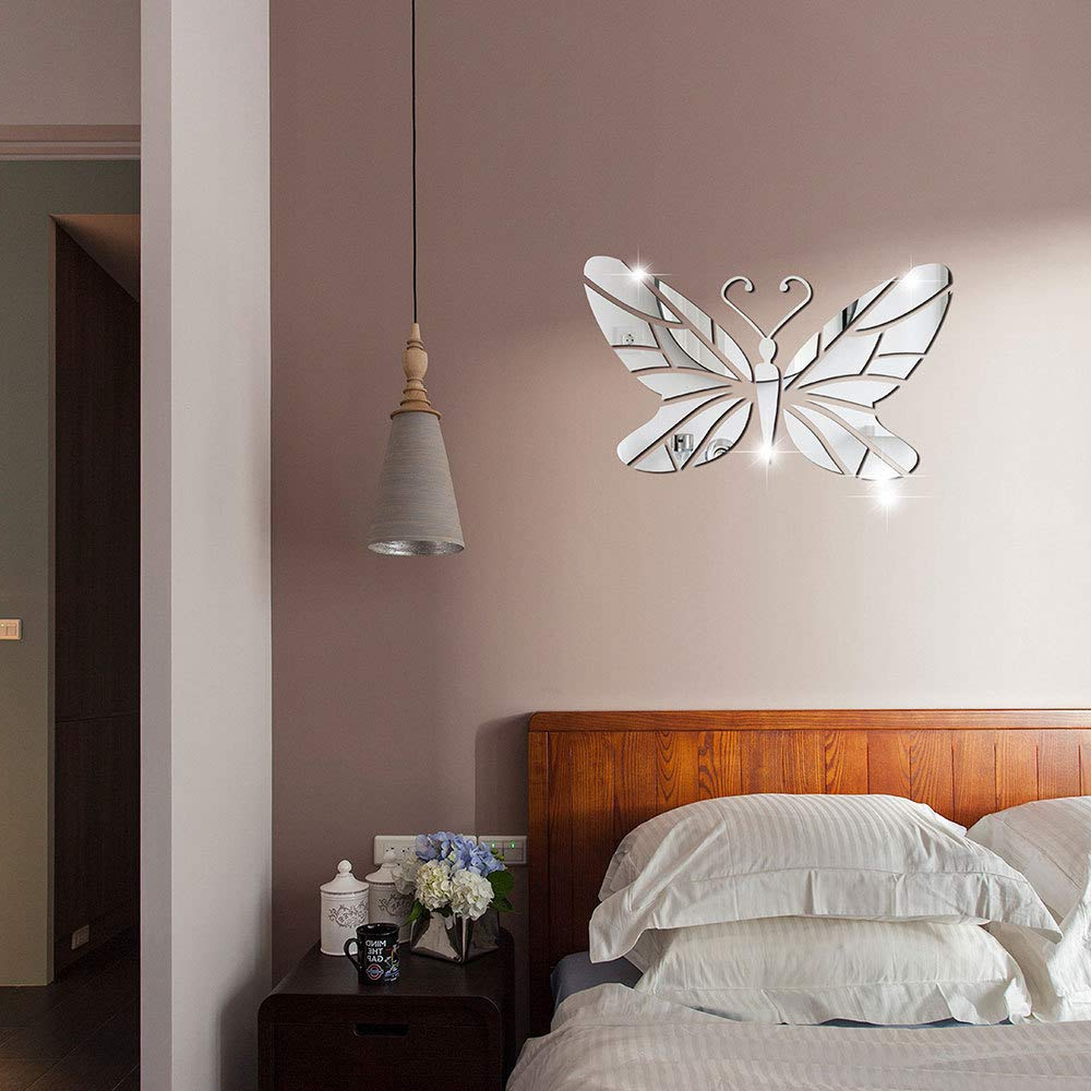 Amazon: Diy Butterfly Wall Mirror Sticker, Mirrored Acrylic In Widely Used Butterfly Wall Mirrors (View 11 of 20)