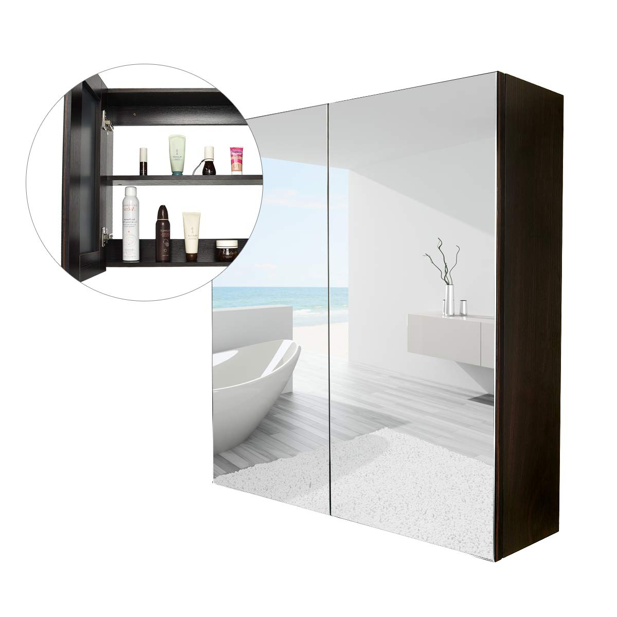 Amazon: Elecwish Bathroom Wall Mirror Cabinet 24 Inch Wide For Newest Wall Mirrors With Storages (View 20 of 20)