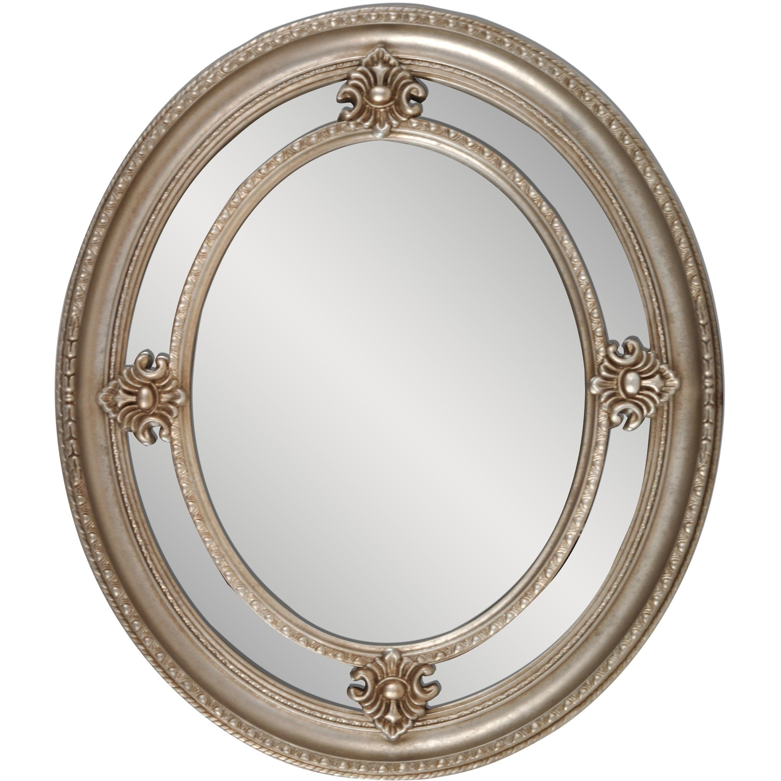 "Amazon – Framed Oval Wall Mirror 24""x 28"" Silver – (View 2 of 20)"