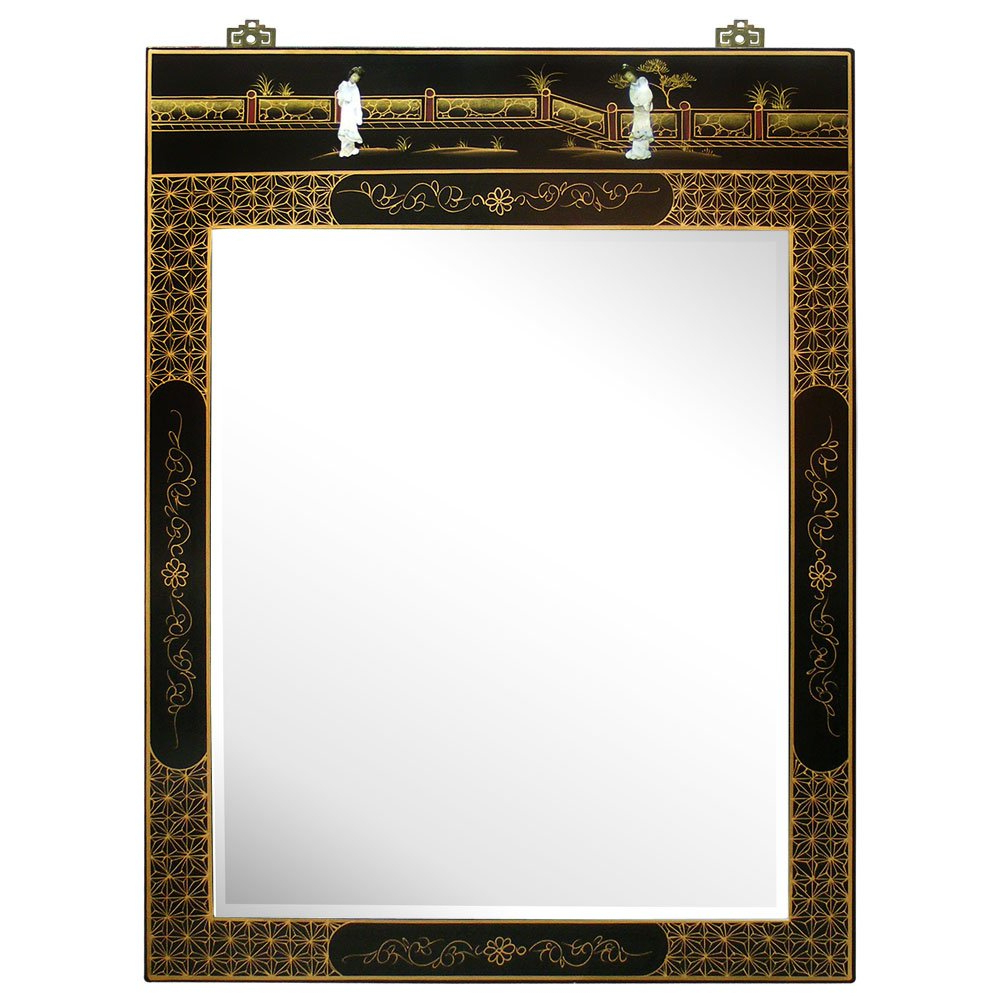 Amazon: Hand Painted Asian Style Wall Mirror – Black Lacquer Within Well Known Asian Style Wall Mirrors (View 6 of 20)