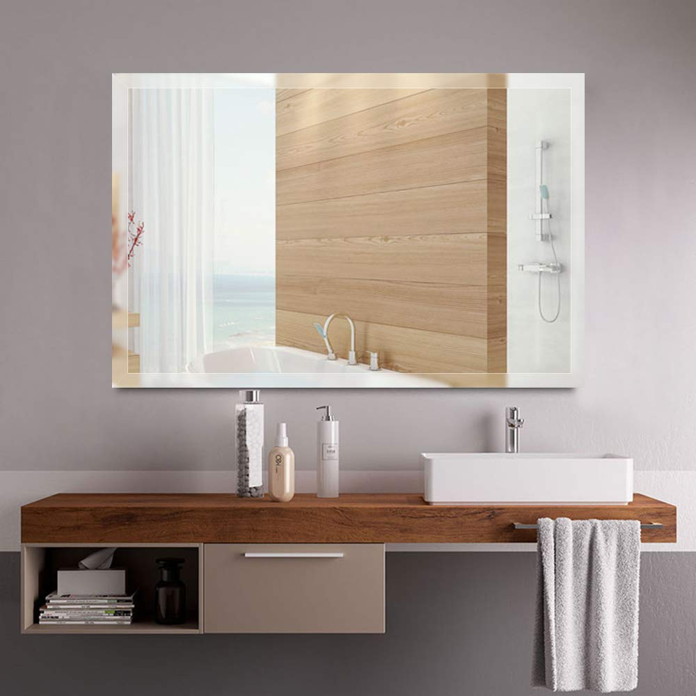 Amazon: Leafmirror Frameless Mirror Large Rectangular Beveled With Regard To Popular Large Bathroom Wall Mirrors (View 19 of 20)