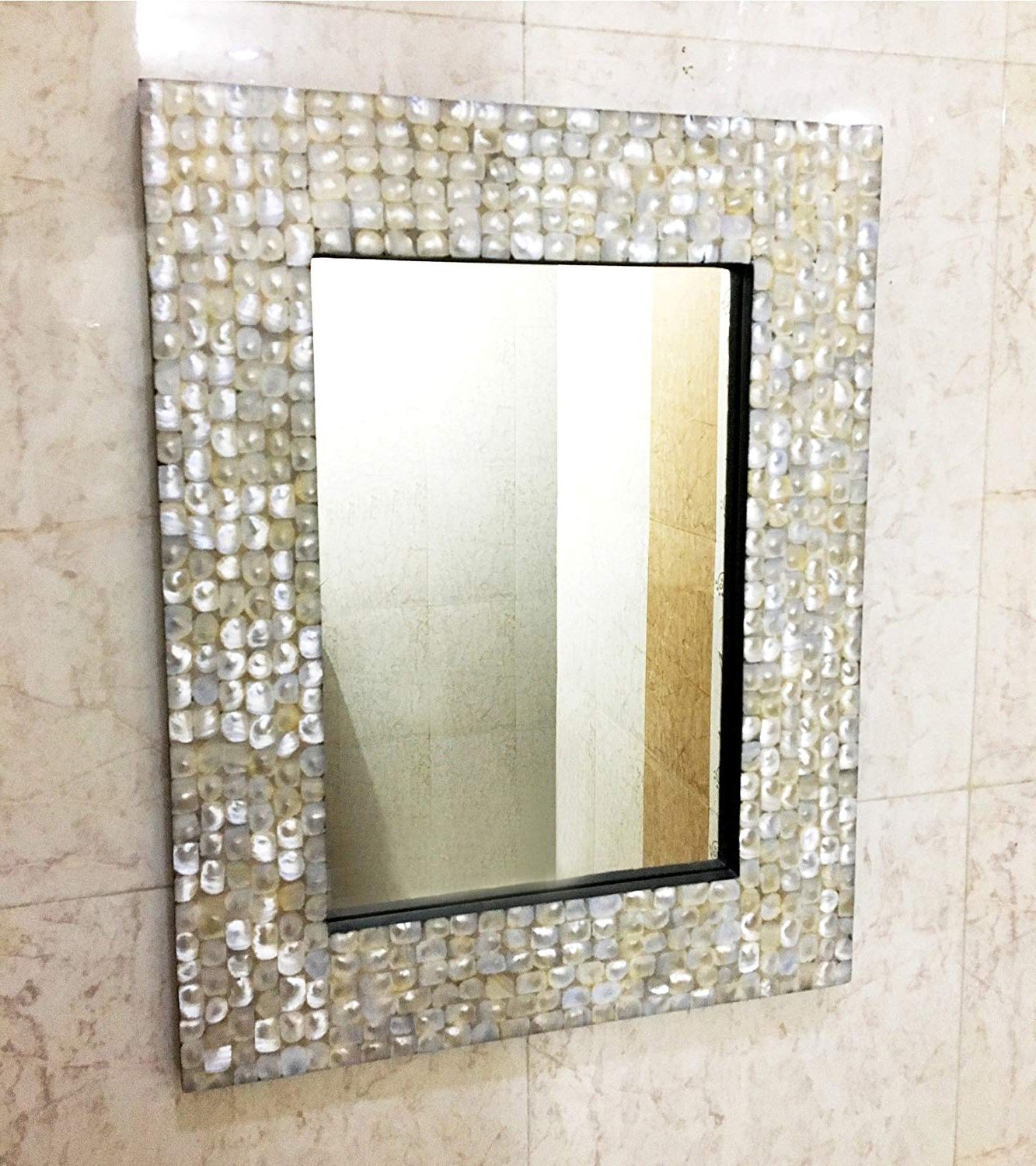 Amazon: Mother Of Pearl Inlay Rectangle Frame Mirror Bedroom In Preferred Mother Of Pearl Wall Mirrors (View 4 of 20)
