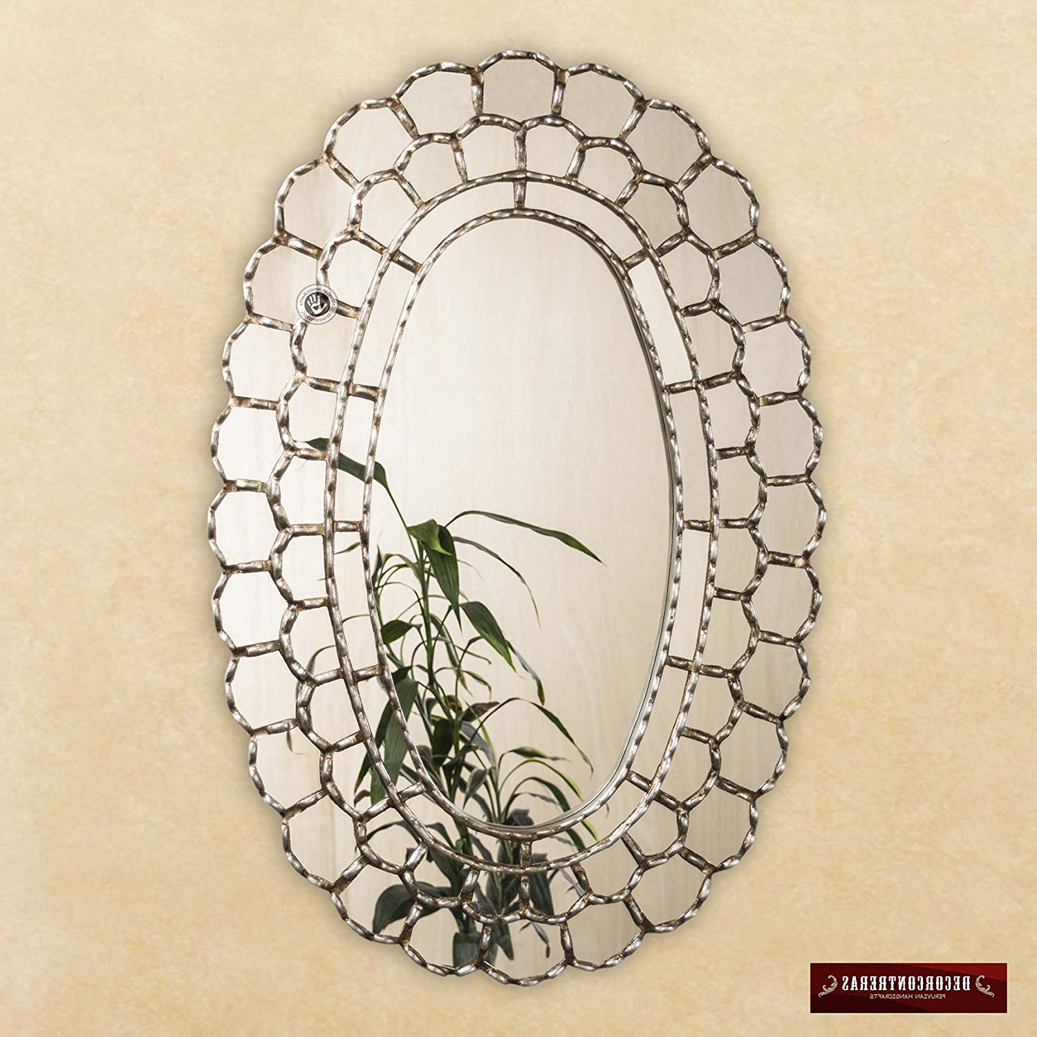 Amazon: Silver Large Oval Mirror – Handmade Decorative In Trendy Ornate Wall Mirrors (View 20 of 20)