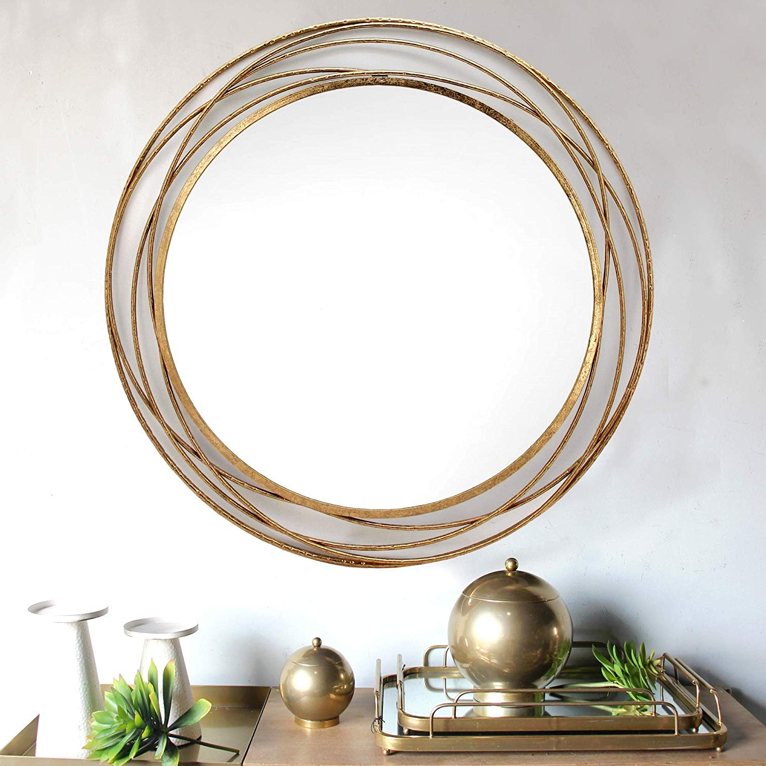 Amazon: Spazio 7109 1 Swirl Wall Mirror, One Size, Antique Gold Intended For Fashionable Swirl Wall Mirrors (View 14 of 20)