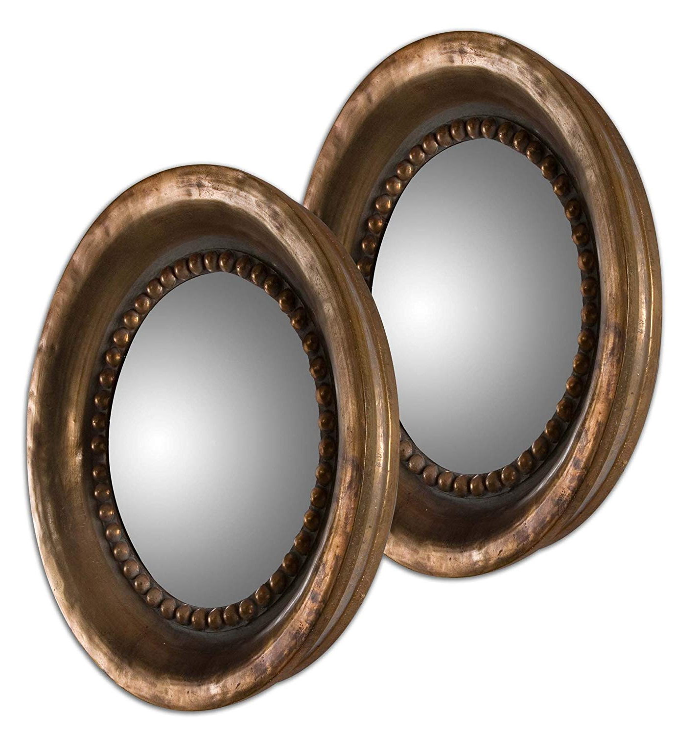 Amazon: Zinc Decor Oxidized Copper Round Convex Wall With Regard To Newest Copper Wall Mirrors (View 14 of 20)