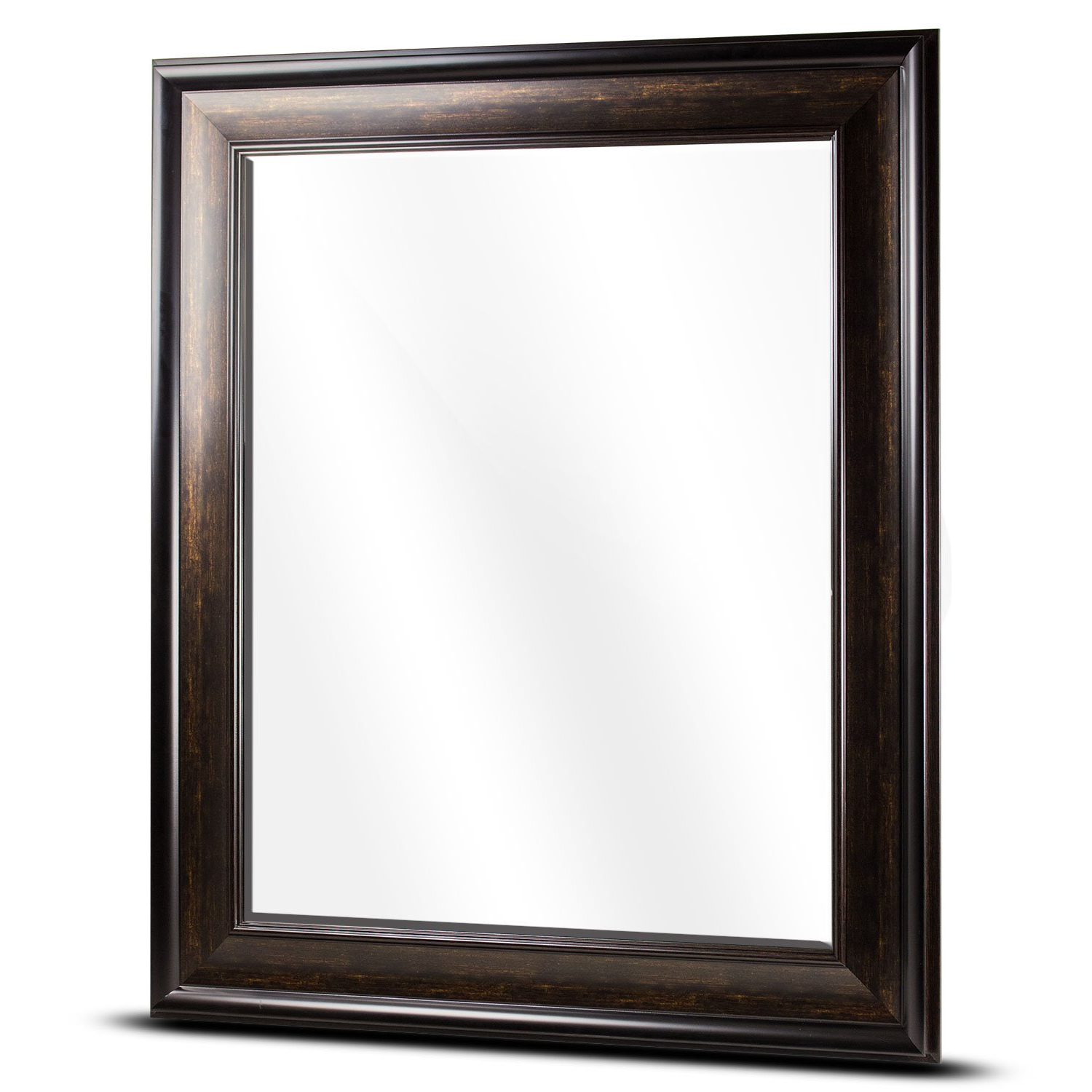 """American Art Decor Hartley Large Rectangular Framed Beveled Accent Wall Vanity Mirror – Brown (35"""" H X 29"""" L X 1"""" D) Inside 2019 Large Rectangular Wall Mirrors (View 18 of 20)"""