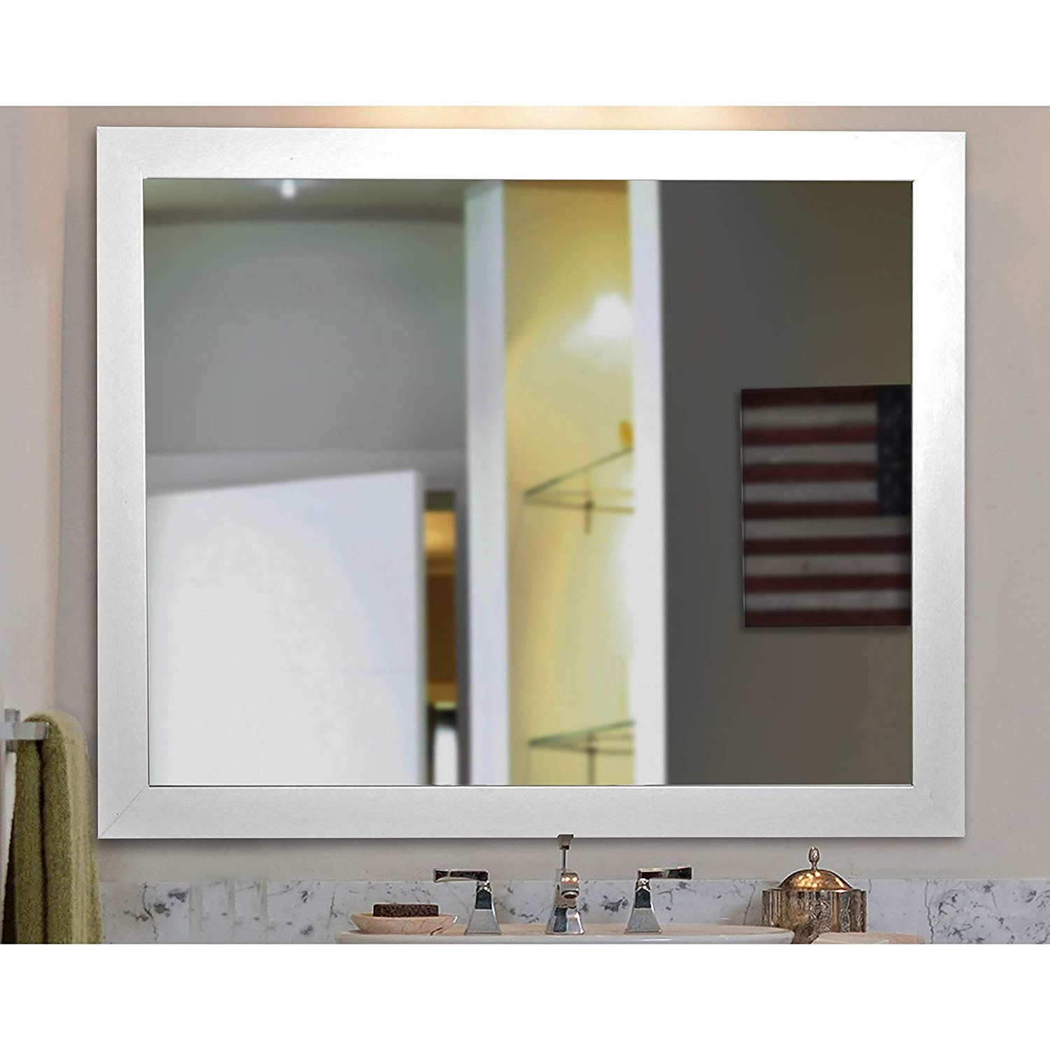 American Made Accent Wall Mirrors Within Preferred Amazon: Rayne Mirrors American Made Rayne White Satin Wide (View 8 of 20)