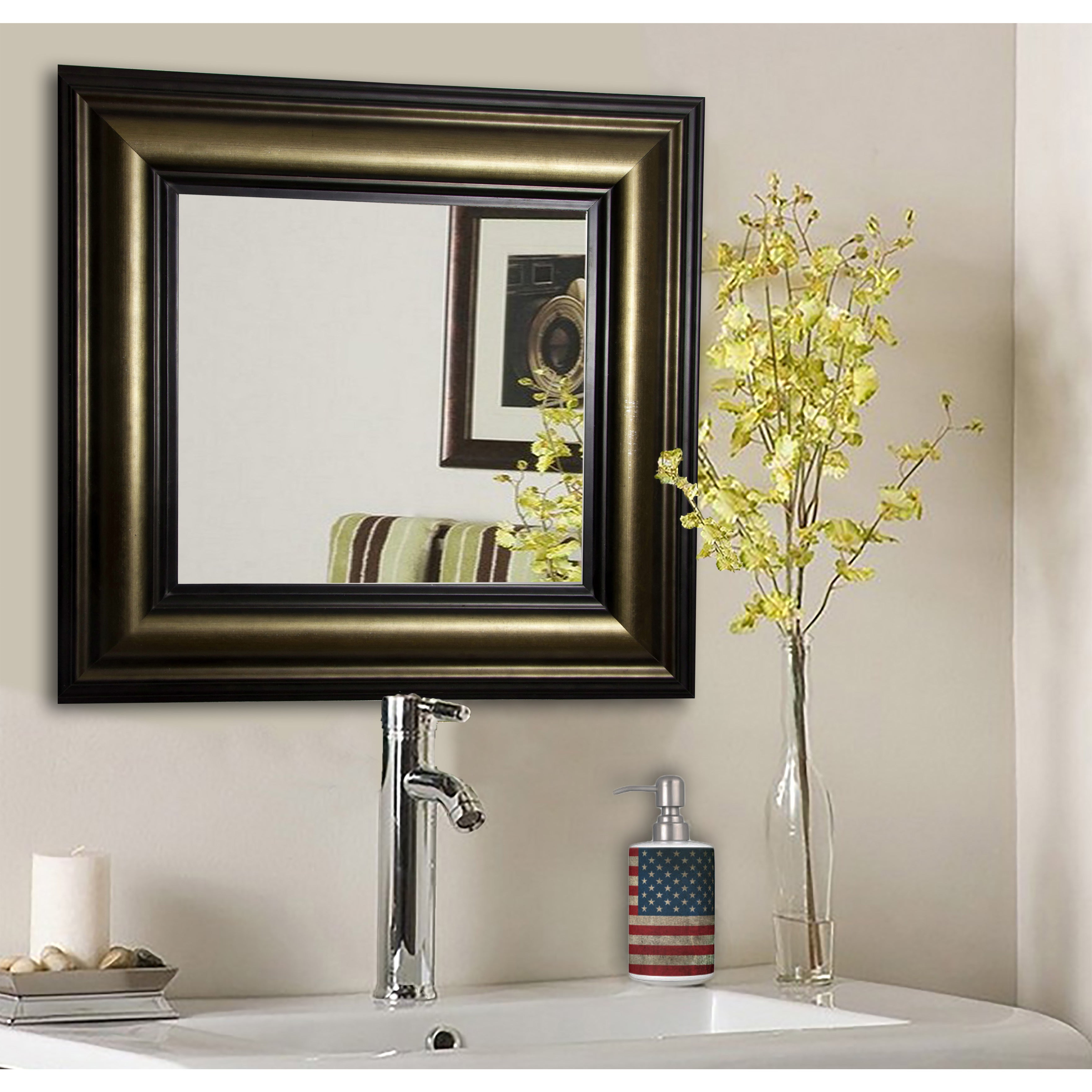 American Made Rayne Stepped Antiqued Vanity Wall Mirror – Bronze In Preferred Antiqued Wall Mirrors (Gallery 20 of 20)