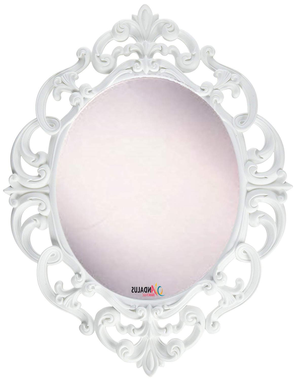 Andalus Small White Oval Vintage Wall Mirror, Ornate Frame, (View 11 of 20)