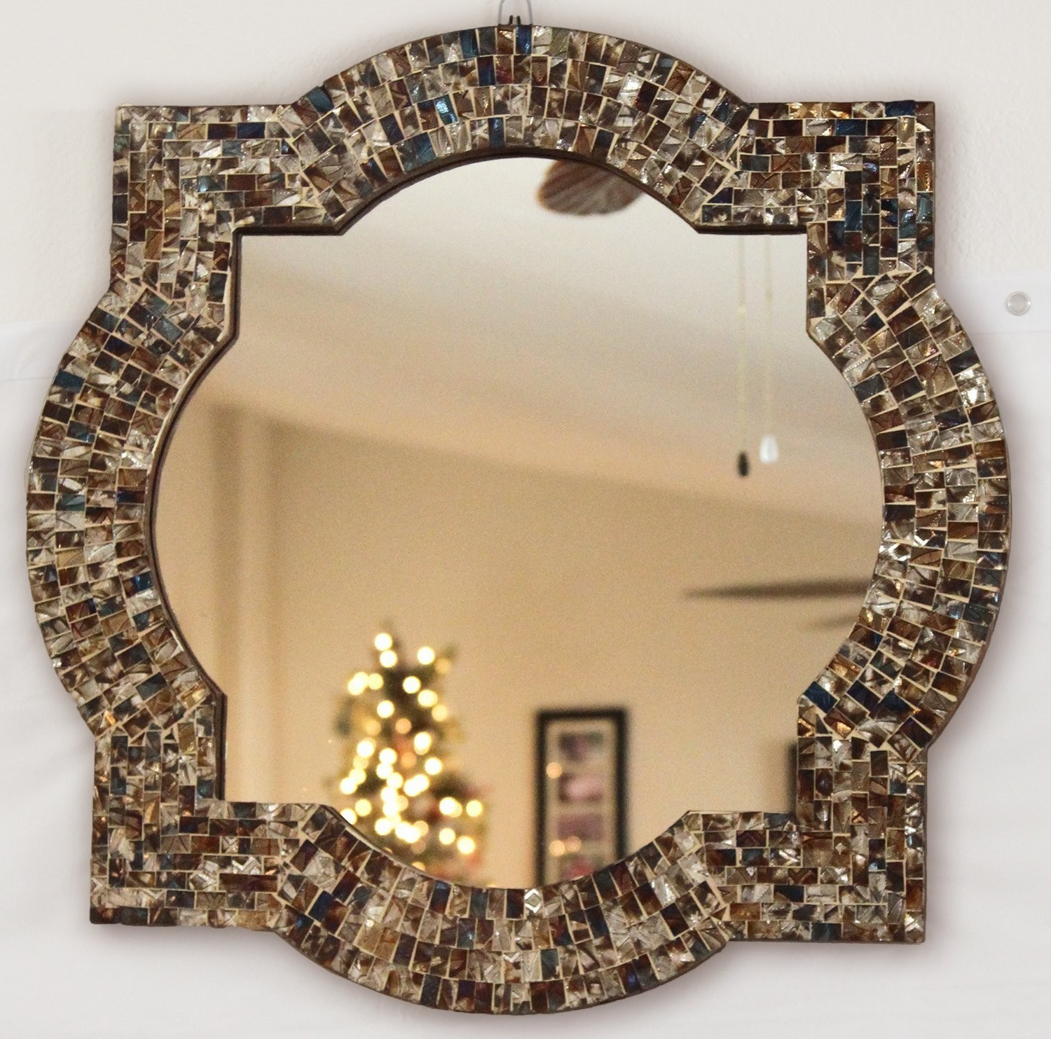 "Andalusian Quatrefoil Mirror, Lindaraja Designer Mosaic Glass Framed Wall Mirror, 24"" X 24"" Colorful Wall Mirror With Glass Mosaic Quatrefoil Frame In Favorite Mosaic Framed Wall Mirrors (View 11 of 20)"