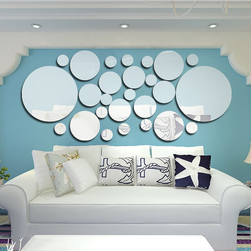 Anself 26pcs/set Acrylic Polka Dot Wall Mirror Stickers Room Intended For Best And Newest Wall Mirror Decals (View 19 of 20)