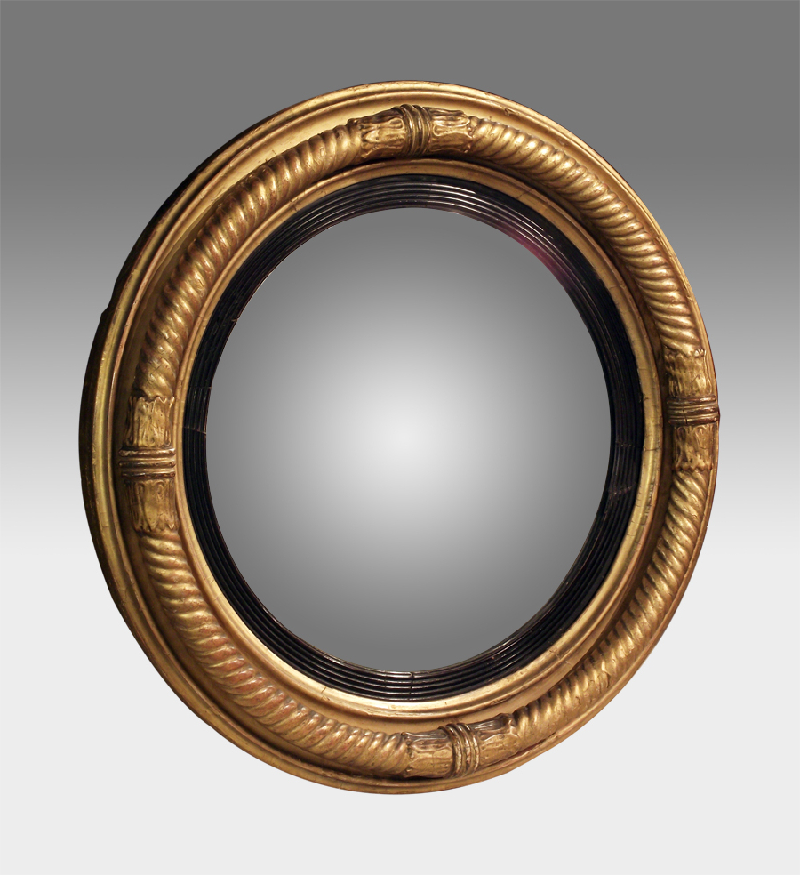 Antique Convex Mirror, Gilt Convex Wall Mirror, Regency For Well Liked Round Convex Wall Mirrors (View 2 of 20)