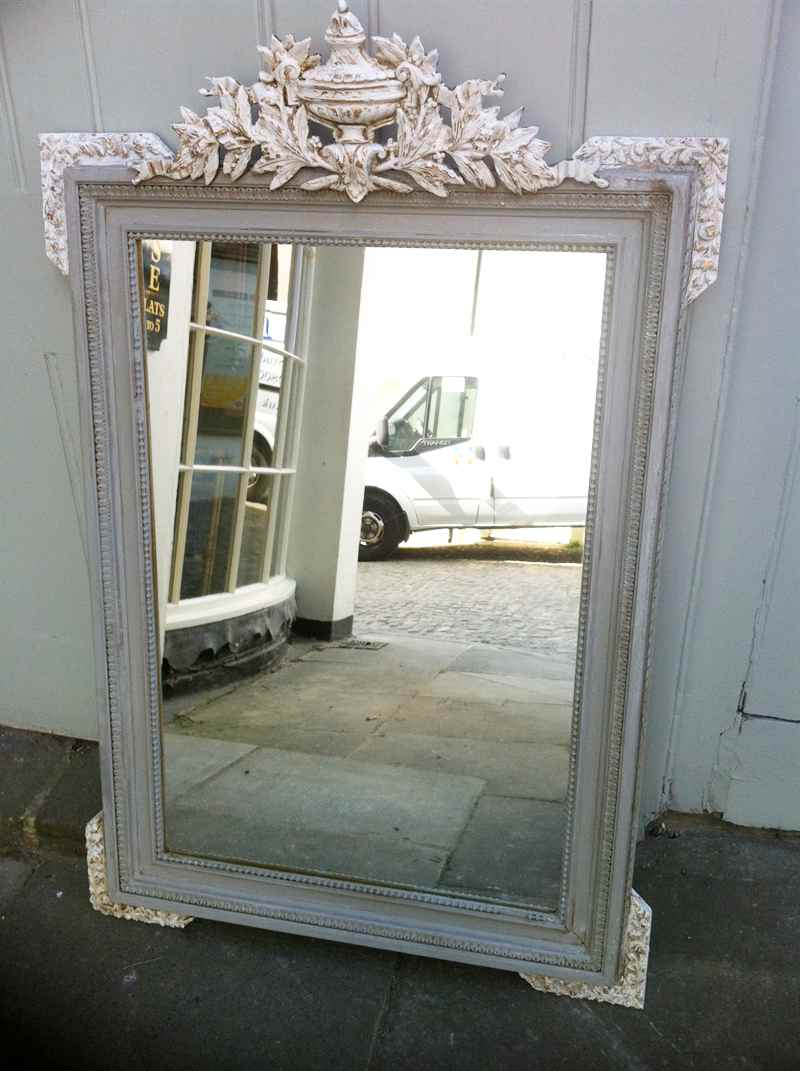Antique French Painted Urn Crested Wall Mirror (View 3 of 20)