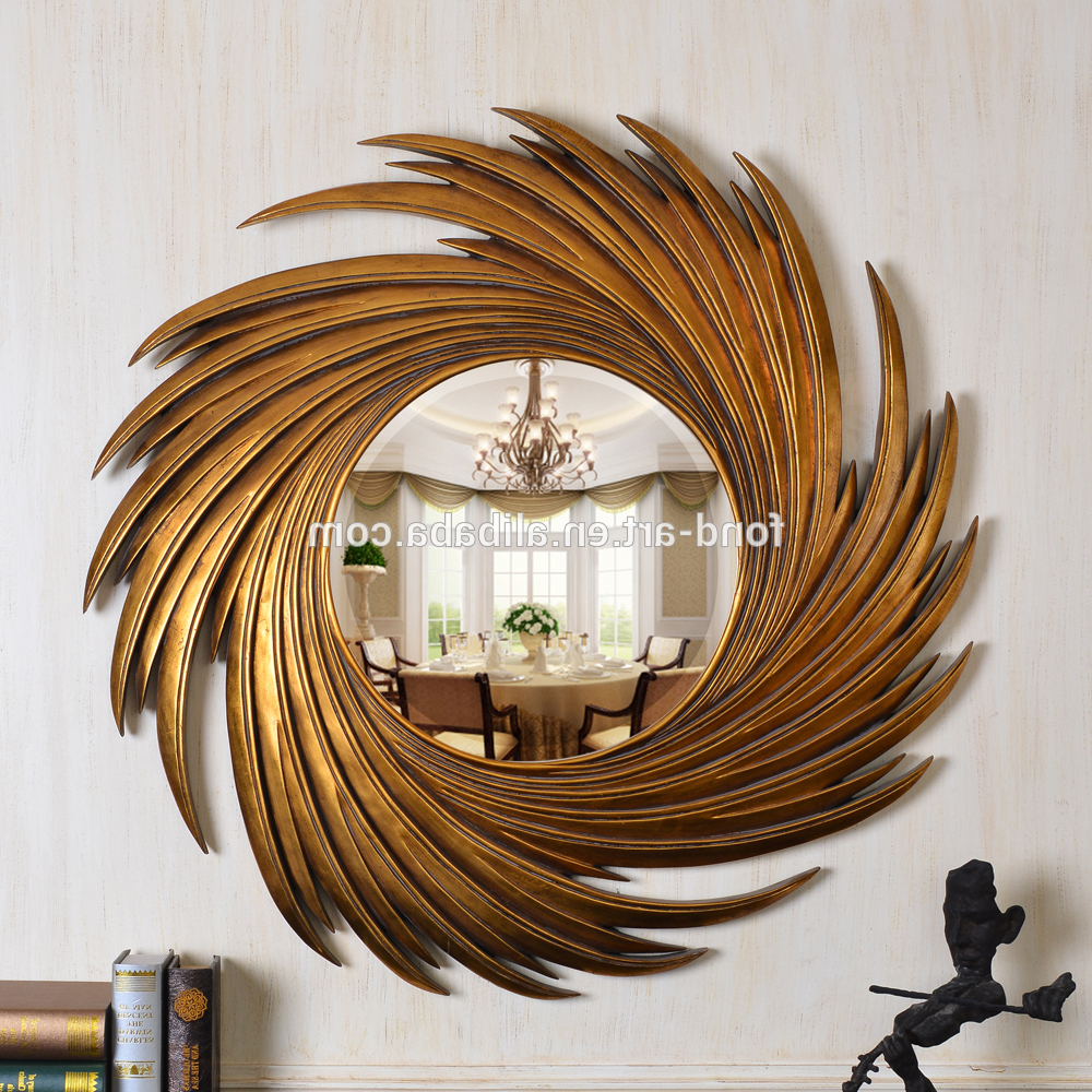 Antique Gold Wall Mirrors With Most Current Pu159 Antique Gold Sun Shaped Decorative Wall Mirror – Buy Antique Framed  Mirror,sun Shaped Wall Mirror,unique Wall Mirrors Product On Alibaba (View 4 of 20)