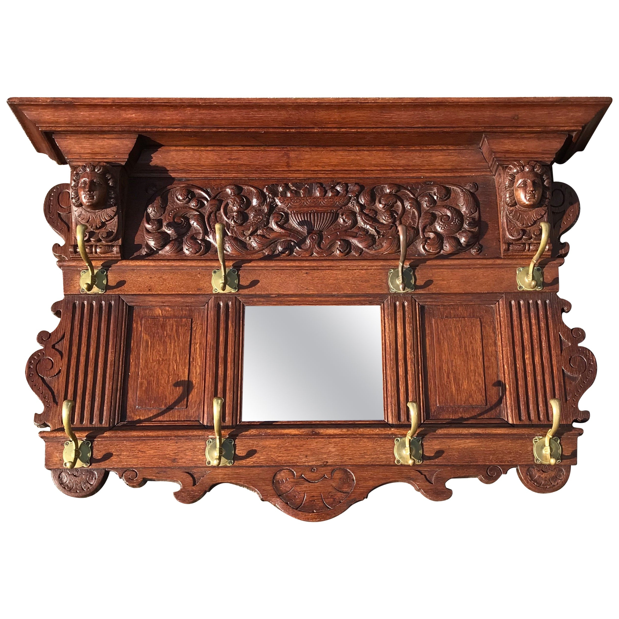 Antique Hand Carved Neoclassical Revival Oak Wall Coat Rack With Mirror In Popular Coat Rack Wall Mirrors (View 14 of 20)