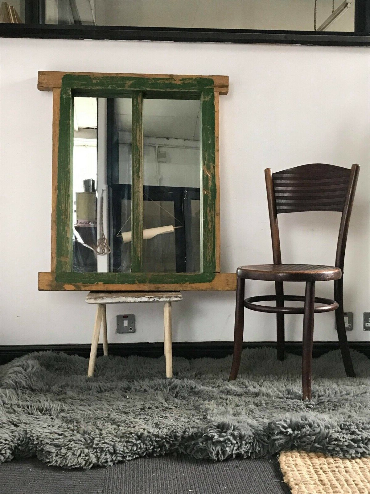 Antique Large French Chalet Heavy Painted Window Frame Unique Wall Mirror With Preferred Unique Wall Mirrors (View 11 of 20)
