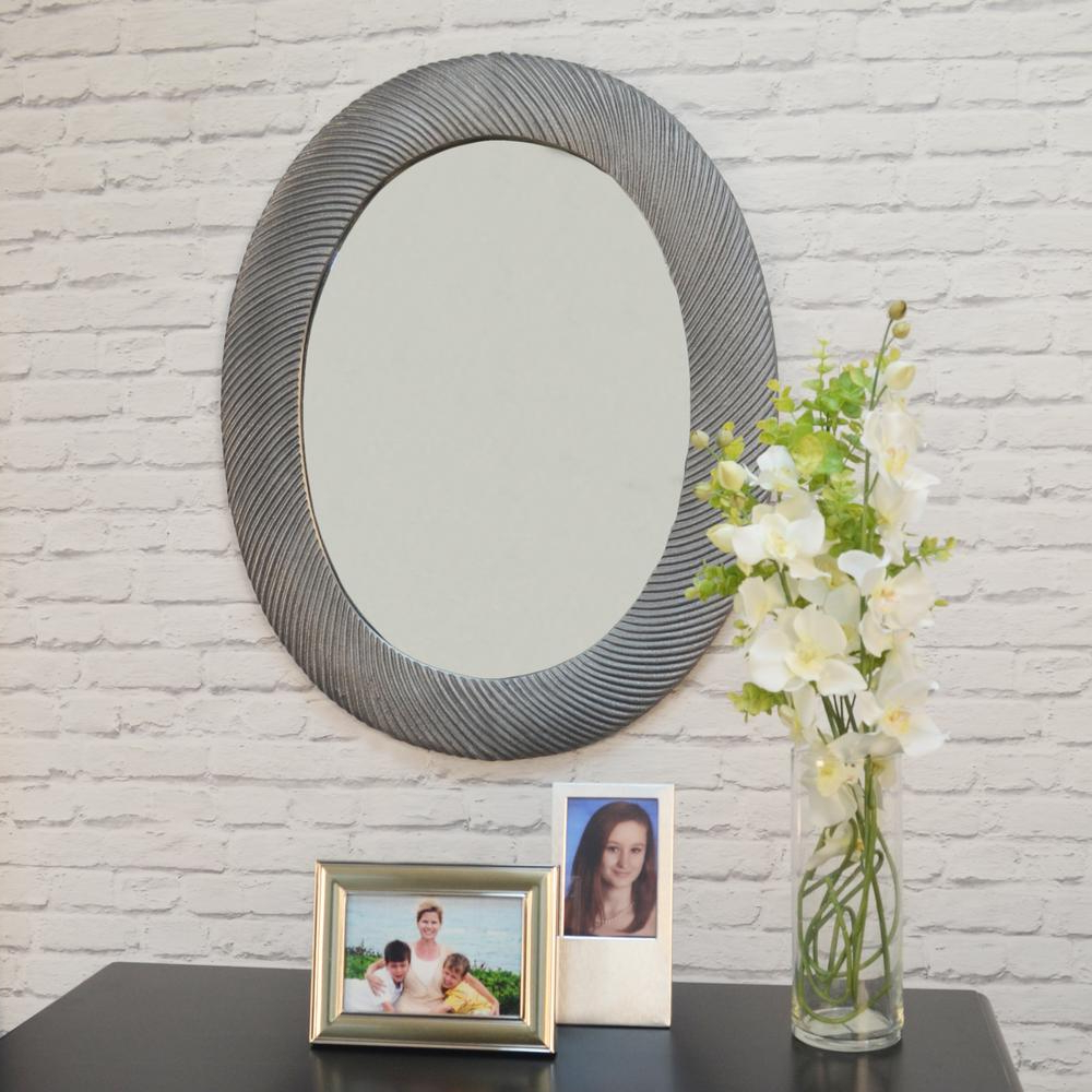 Antique Oval Wall Mirrors Regarding Well Liked Virginia Oval Antique Pewter Decorative Wall Mirror (View 5 of 20)